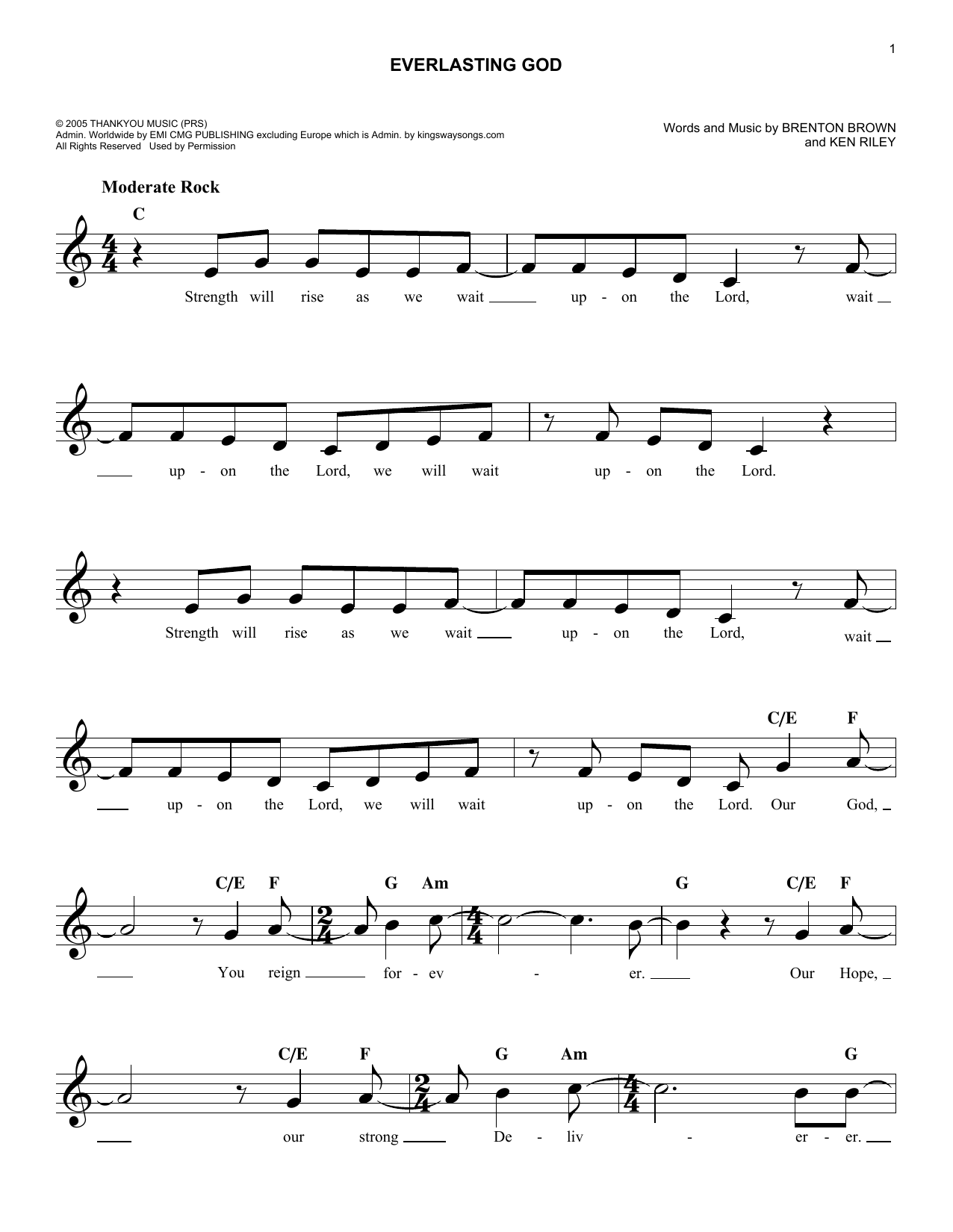 Everlasting God (Lead Sheet / Fake Book)