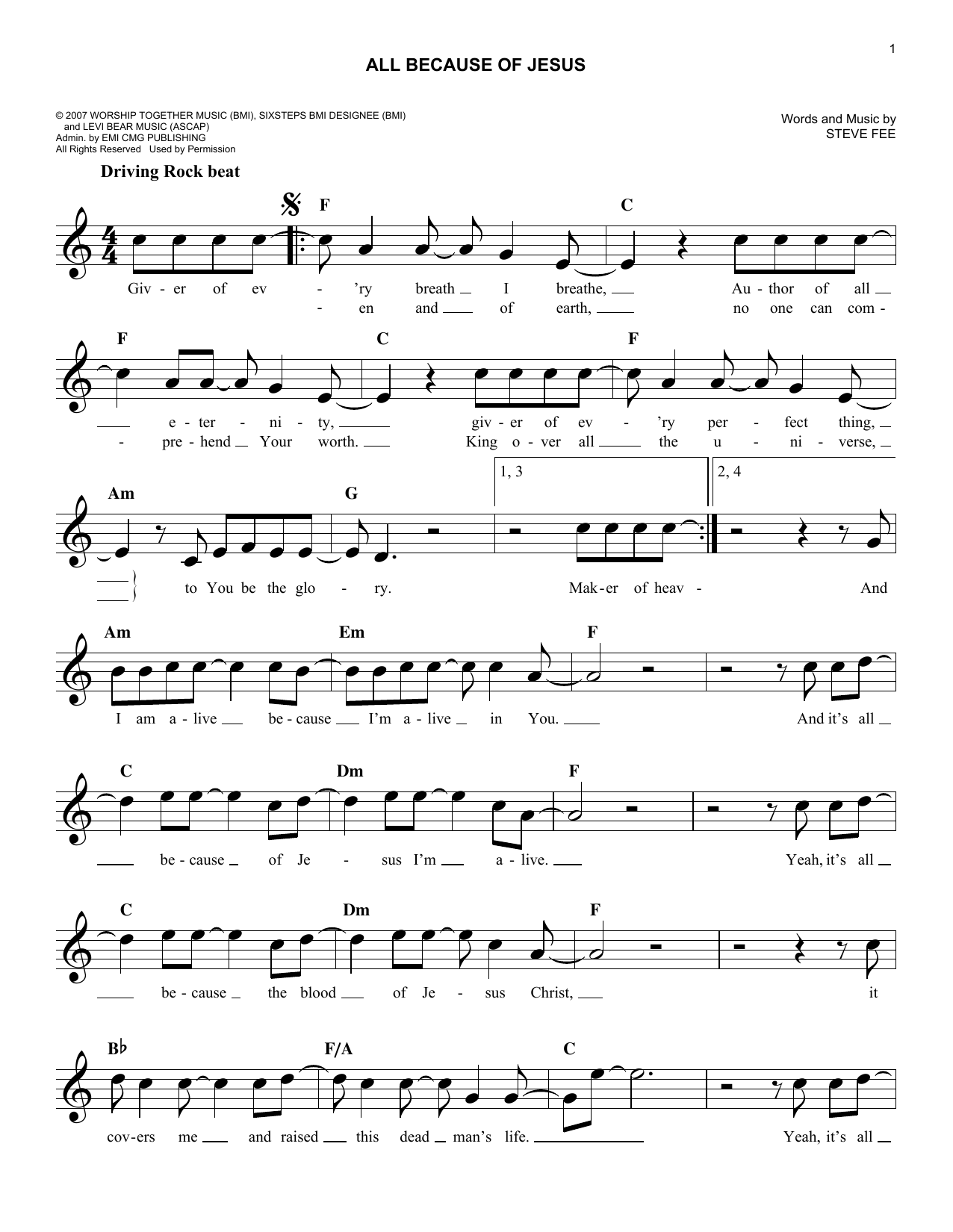 All Because Of Jesus (Lead Sheet / Fake Book)