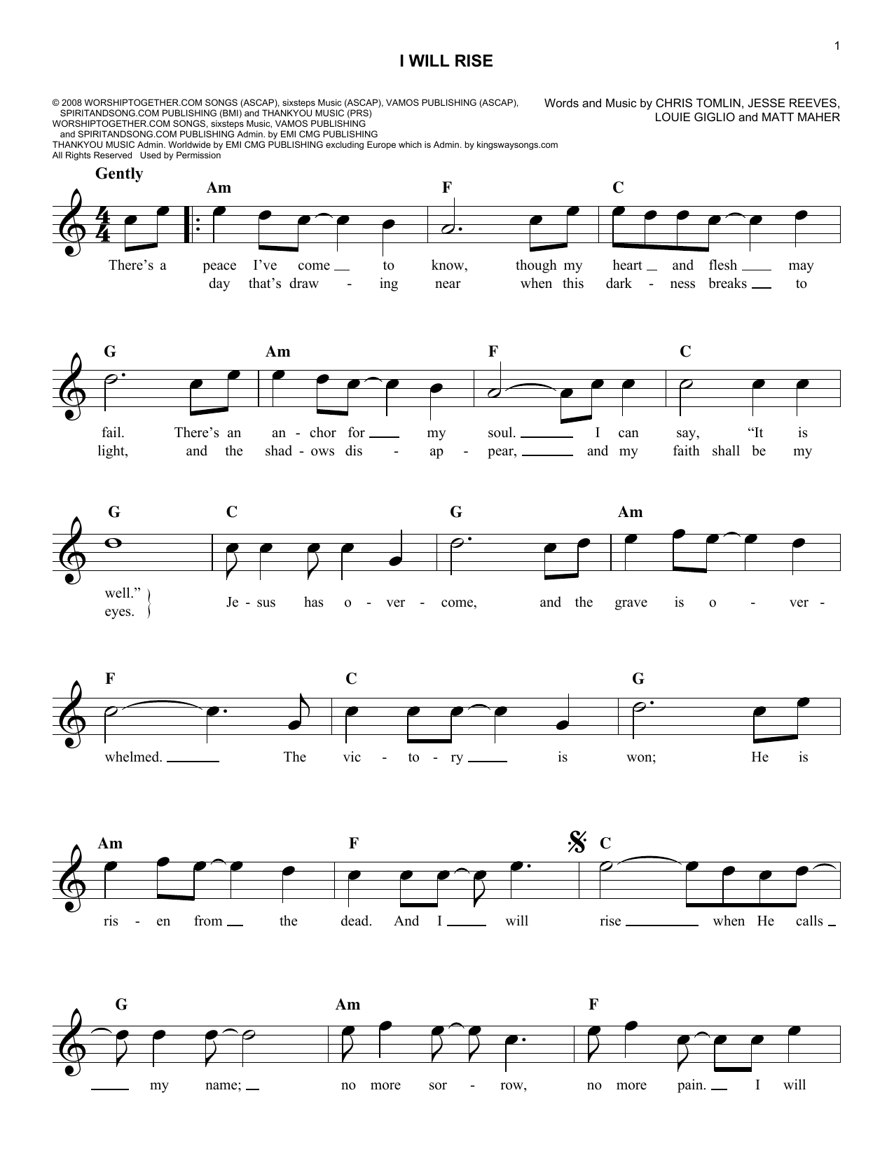 I Will Rise Sheet Music