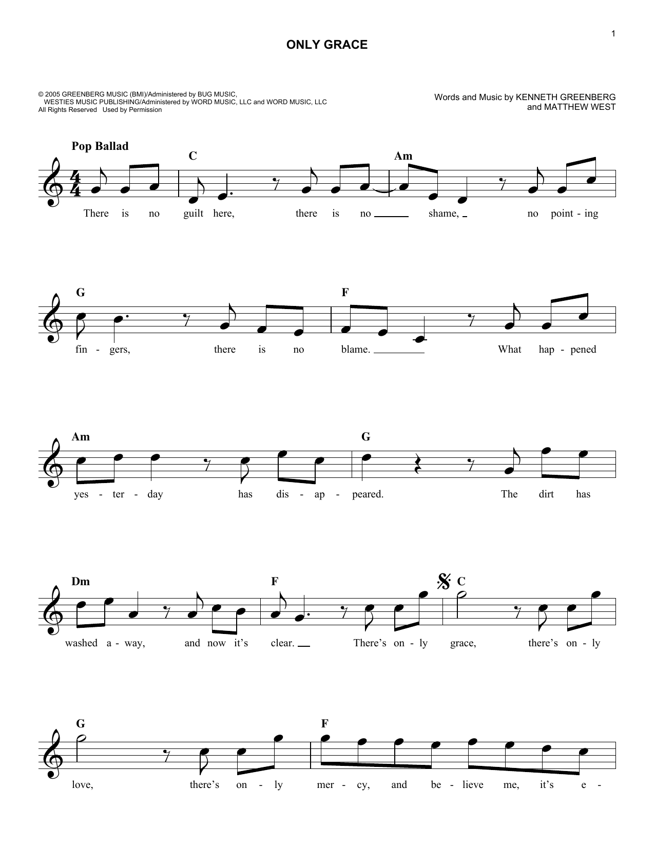 Only Grace (Lead Sheet / Fake Book)