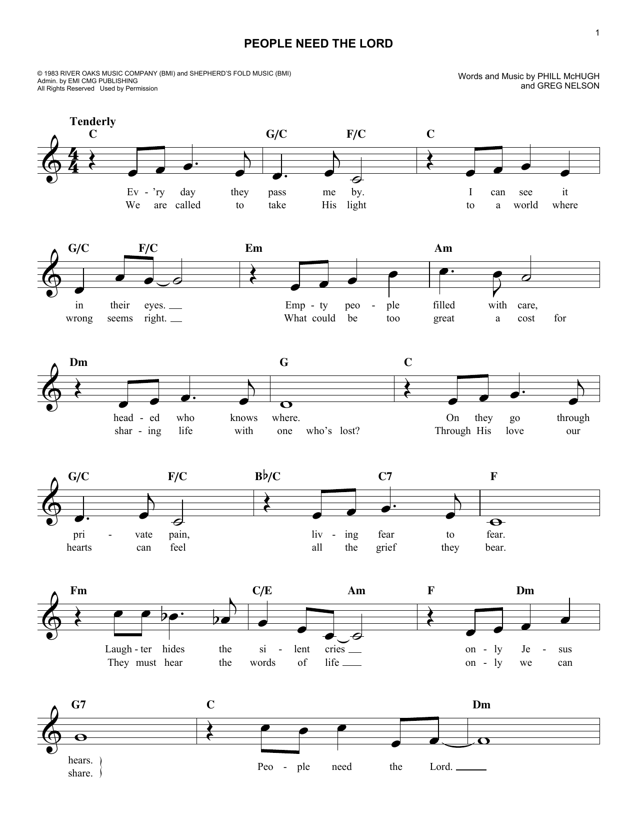 People Need The Lord (Lead Sheet / Fake Book)