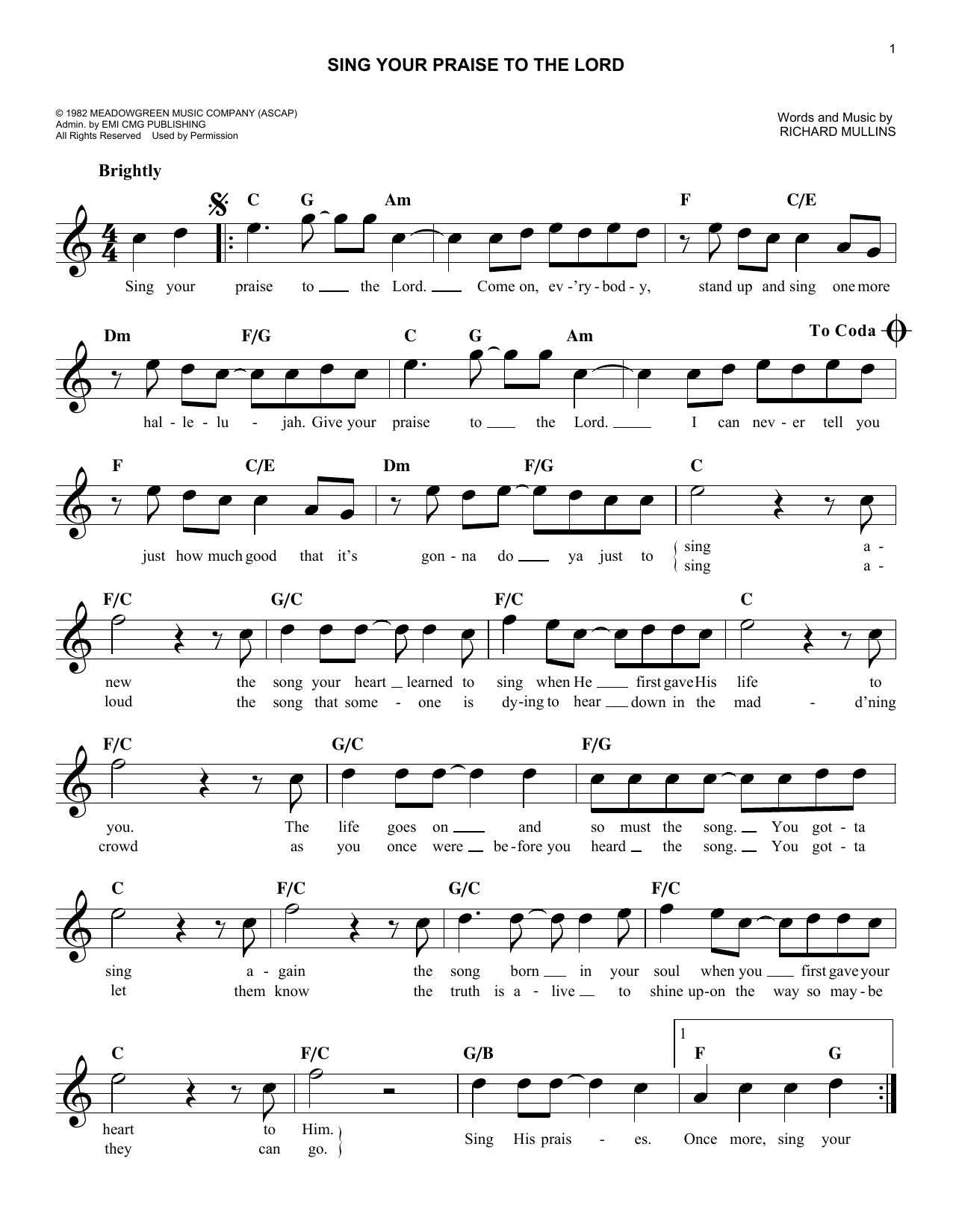 Sing Your Praise To The Lord (Lead Sheet / Fake Book)