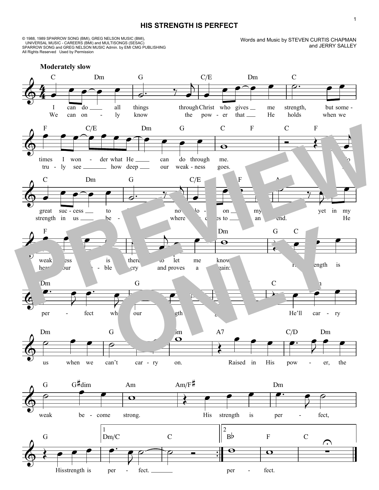 His Strength Is Perfect (Lead Sheet / Fake Book)