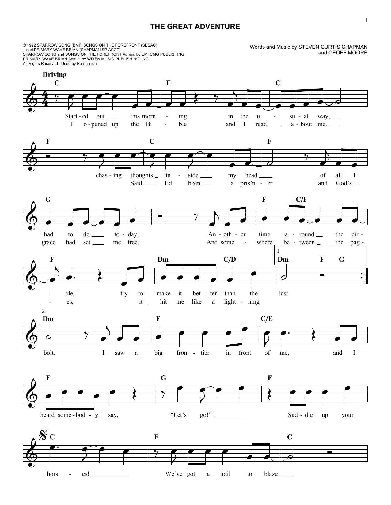 The Great Adventure Sheet Music