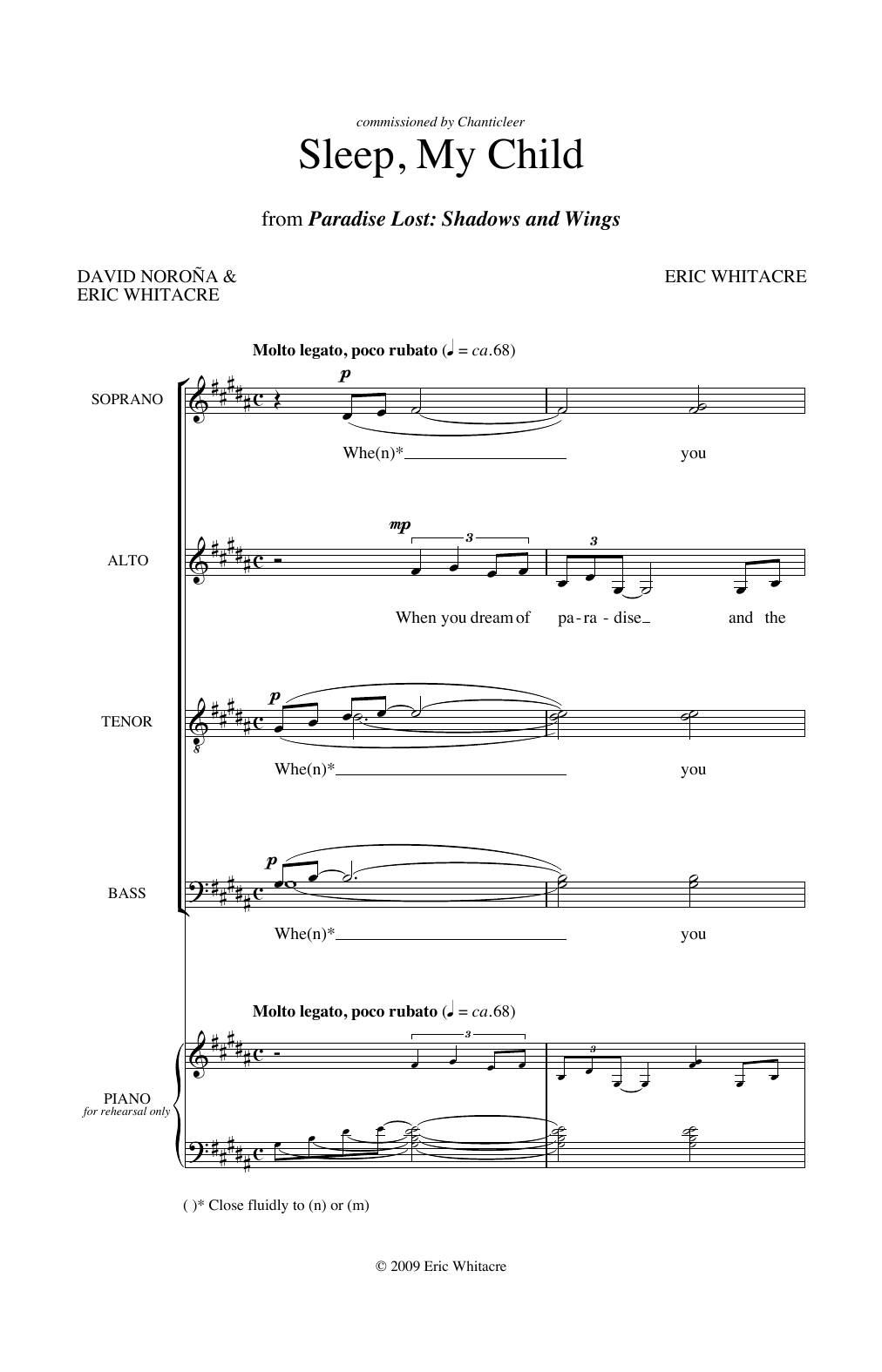 Partition chorale Shadows and Wings) de Sleep, My Child (from Paradise Lost - SATB