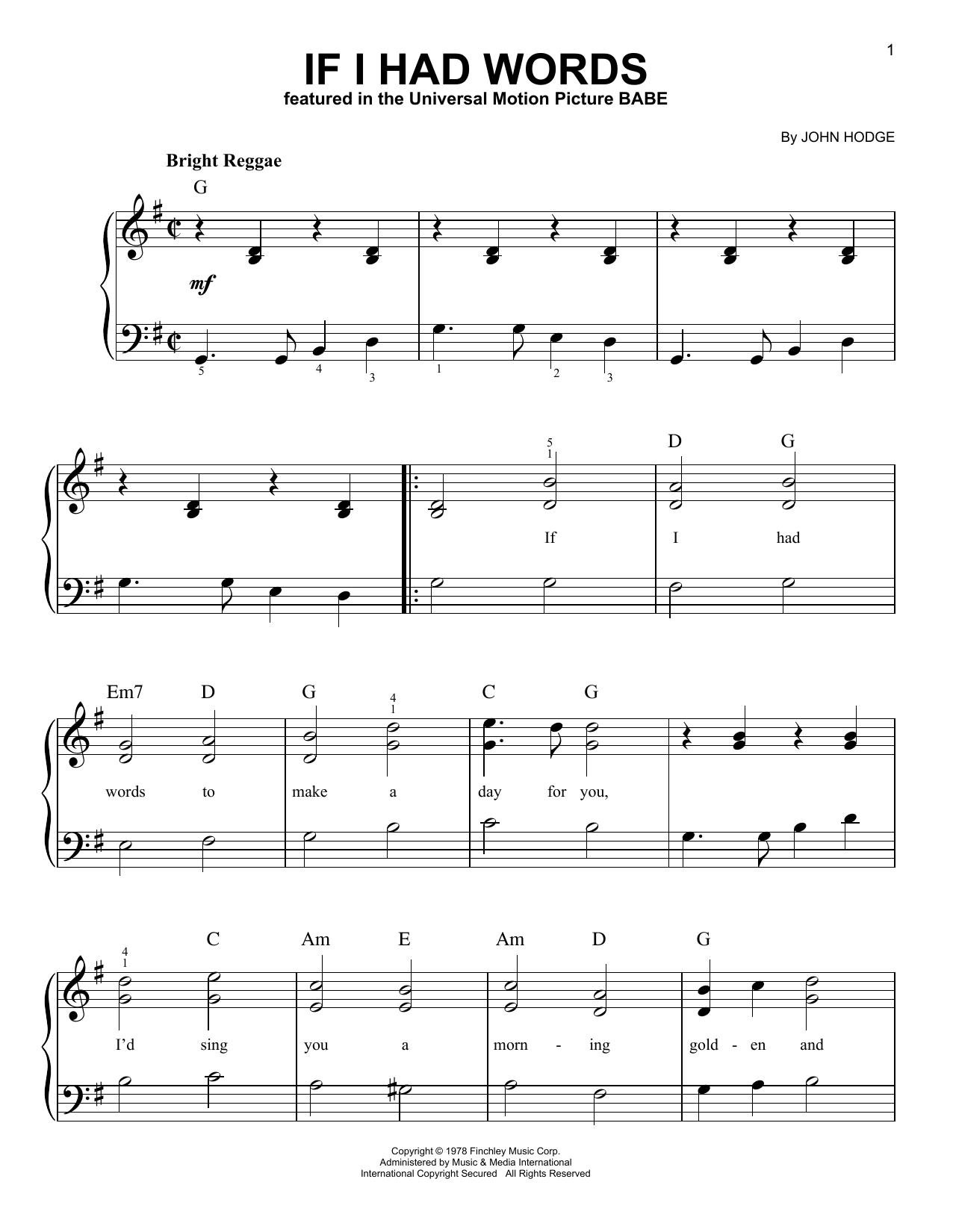 If I Had Words (Easy Piano)