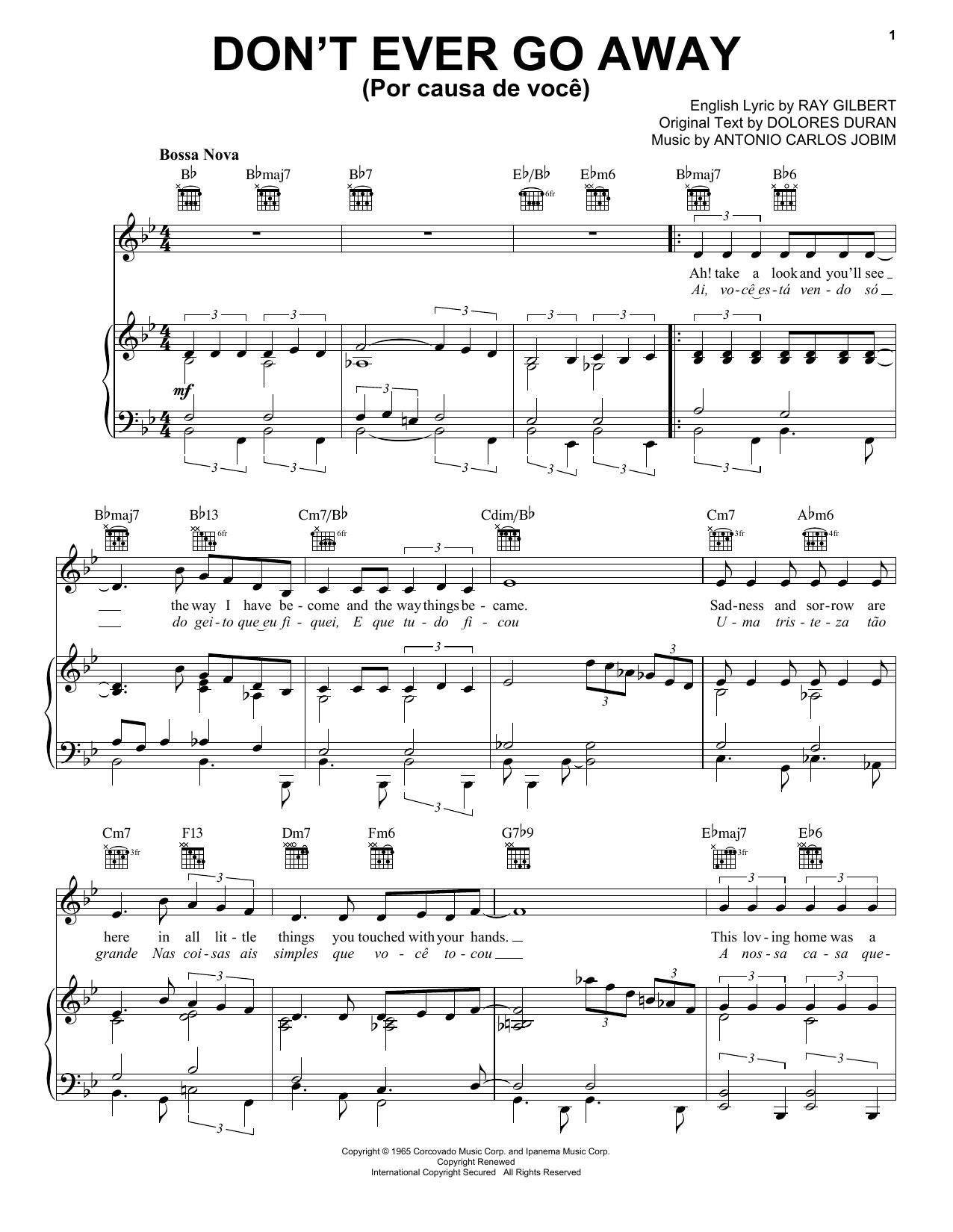 Don't Ever Go Away (Por Causa De Voce) (Piano, Vocal & Guitar (Right-Hand Melody))