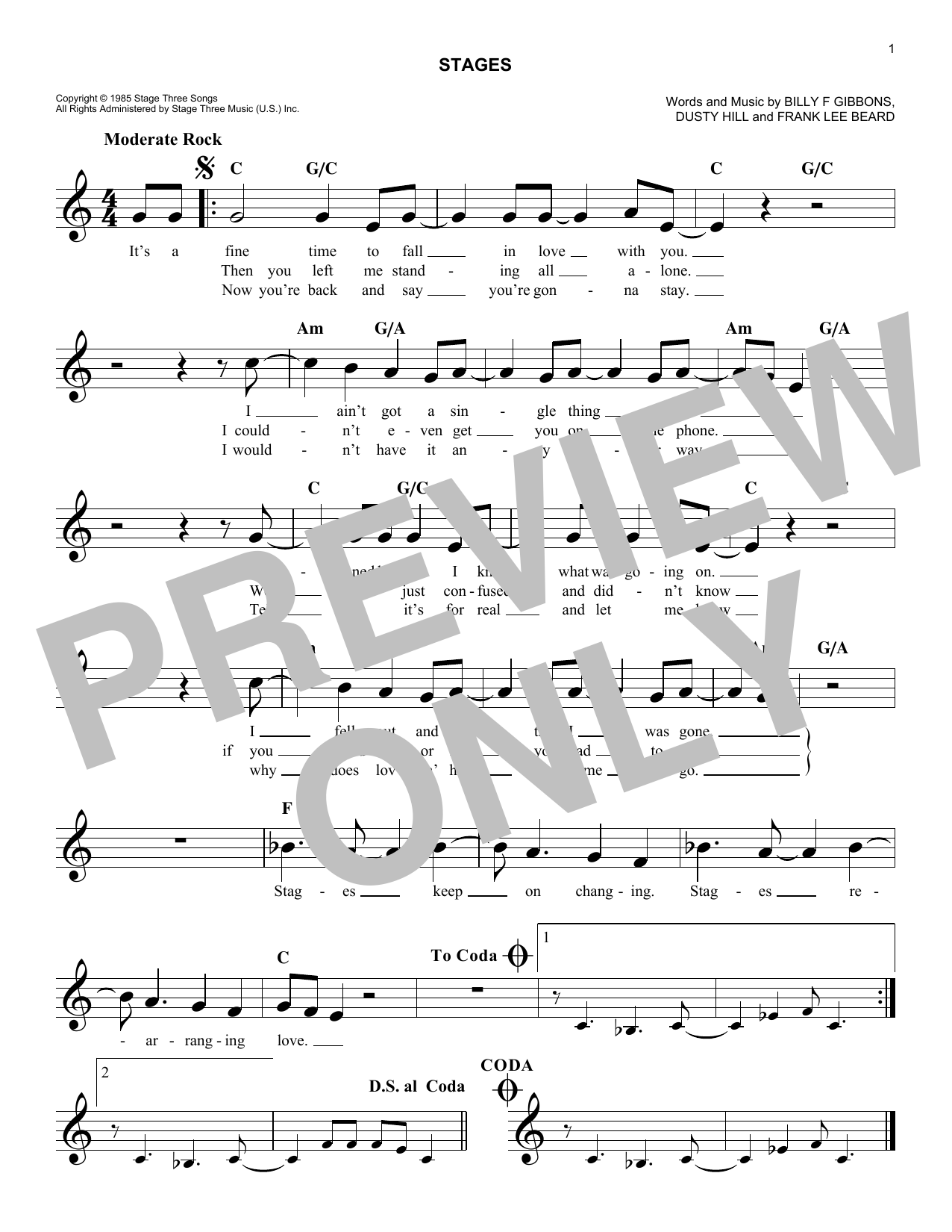 Stages Sheet Music