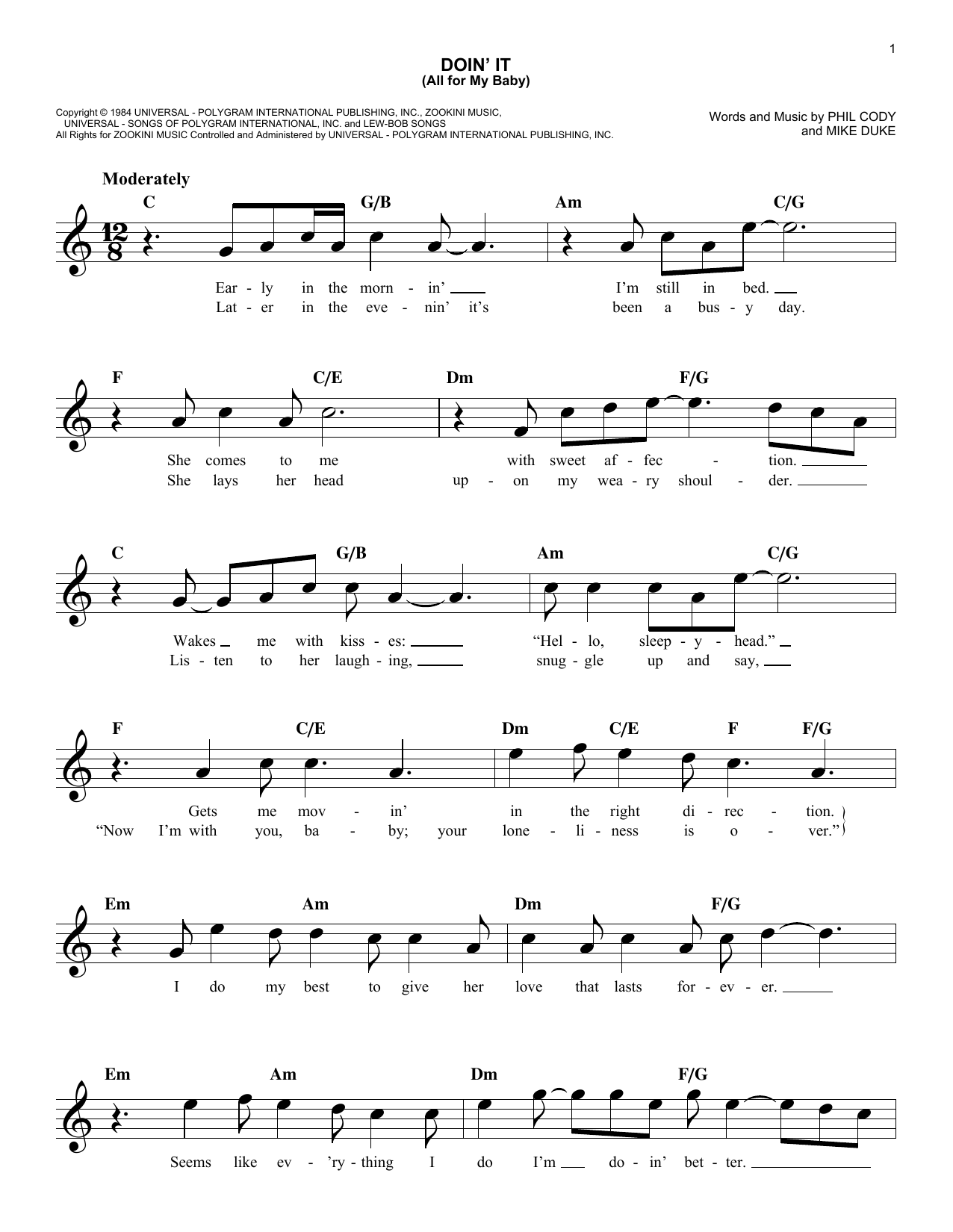 Doin' It (All For My Baby) (Lead Sheet / Fake Book)