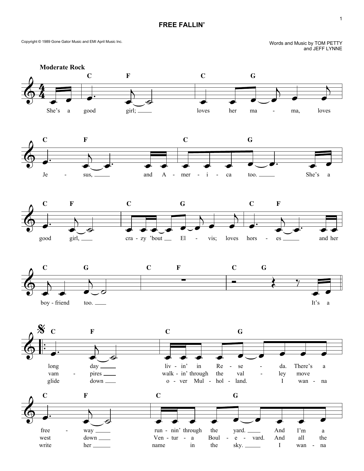 Free Fallin Tom Petty Melody Line Lyrics Chords