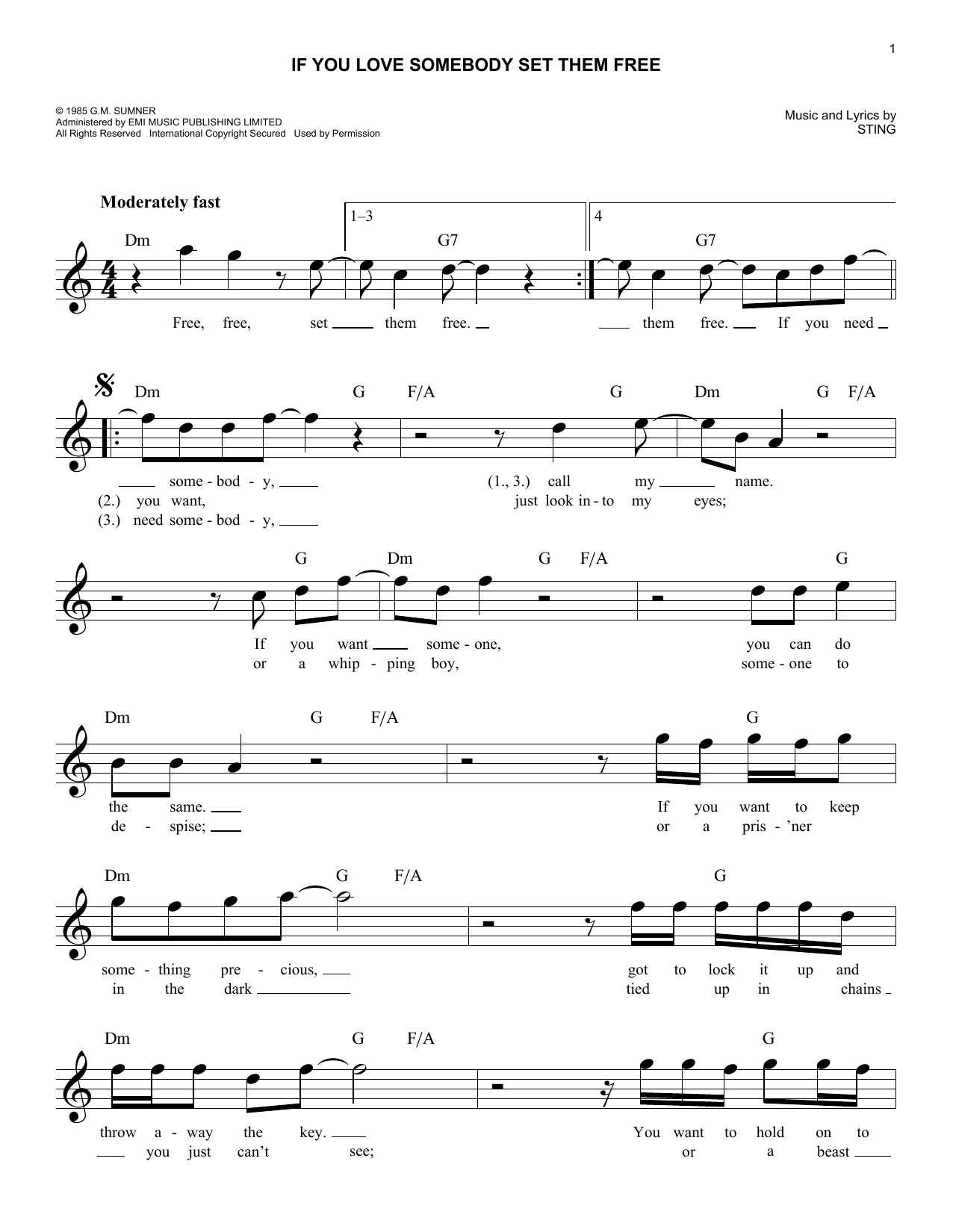 If You Love Somebody Set Them Free (Lead Sheet / Fake Book)