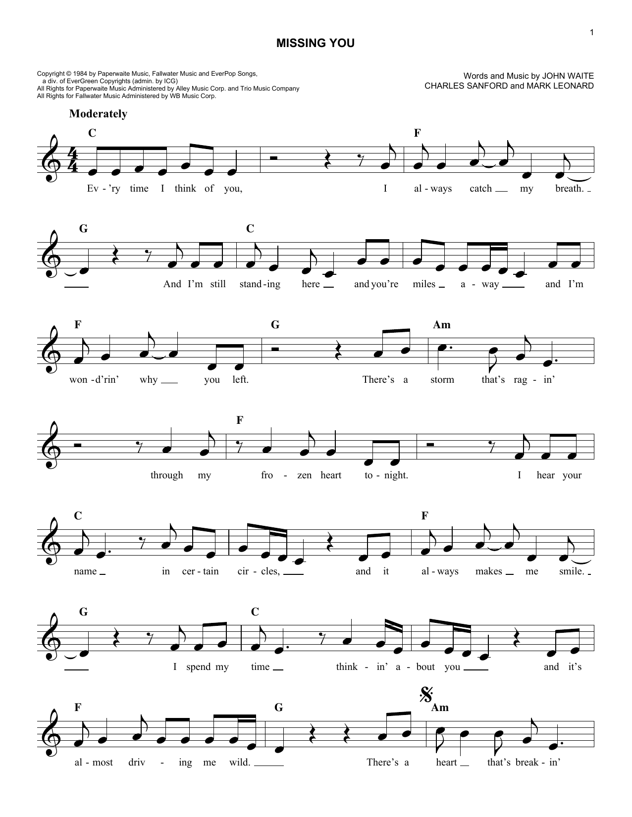 Missing You (Lead Sheet / Fake Book)