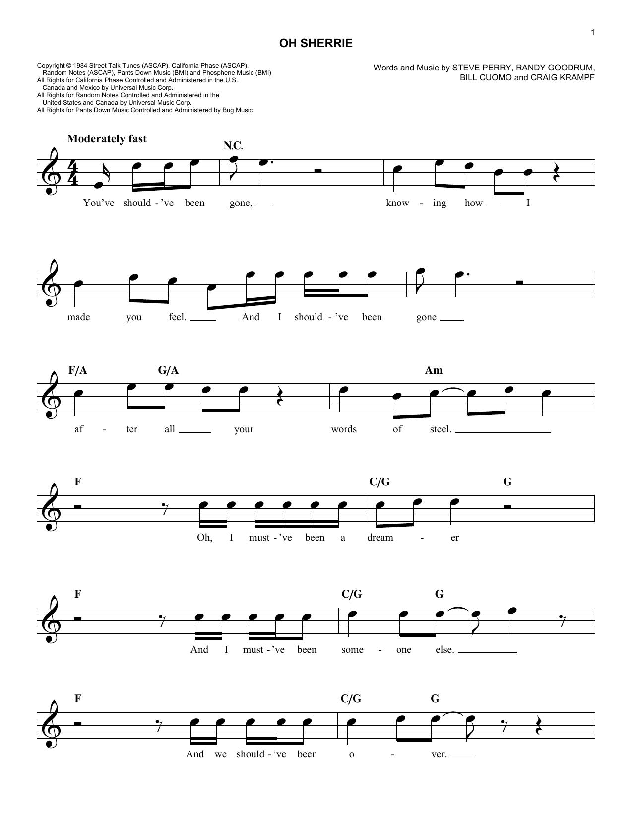 Oh Sherrie Sheet Music