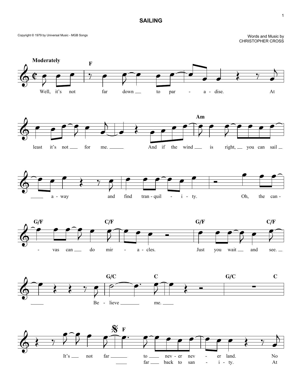 Sailing (Melody Line, Lyrics & Chords)