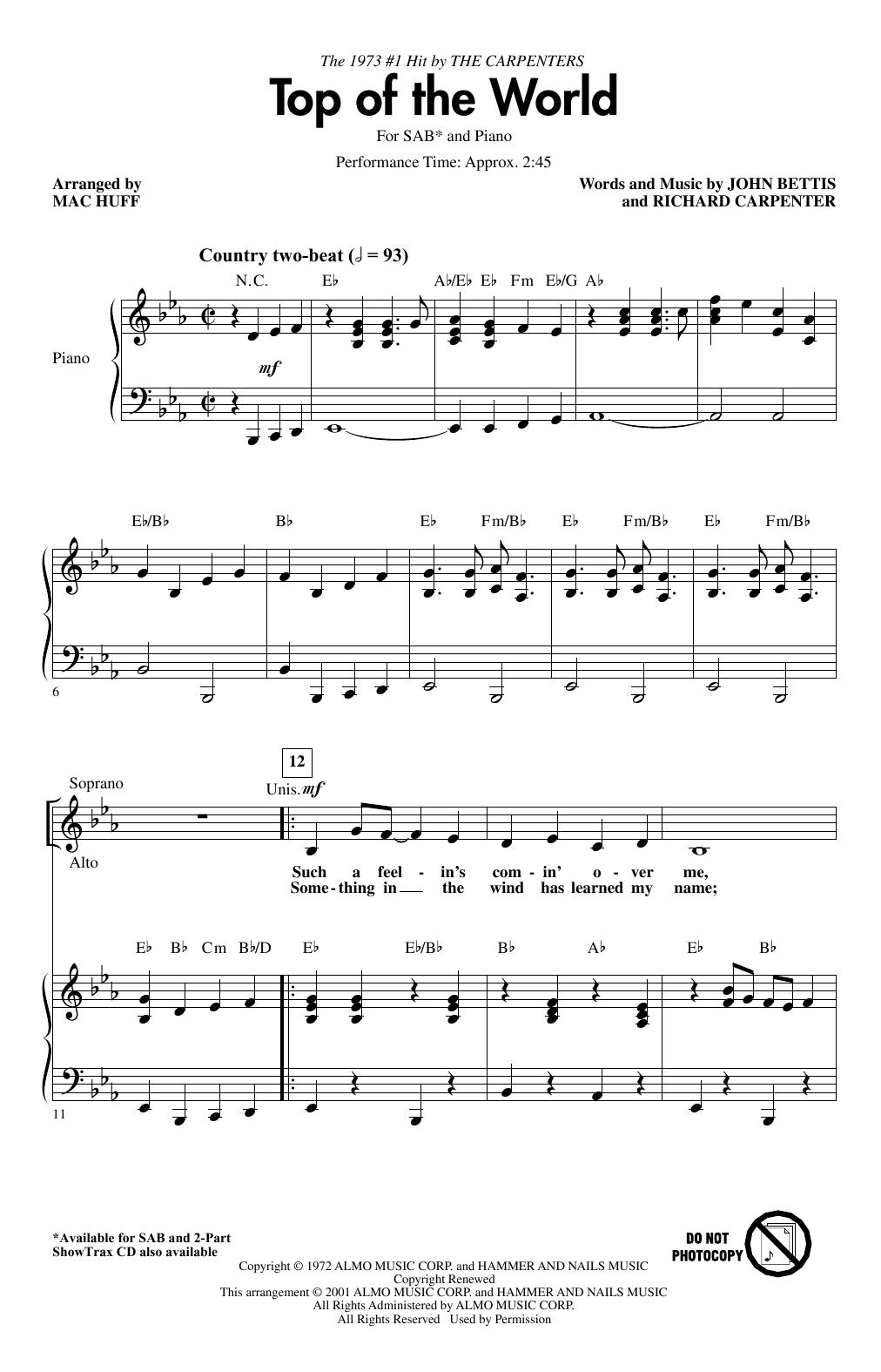 Top Of The World (arr. Mac Huff) (SAB Choir)