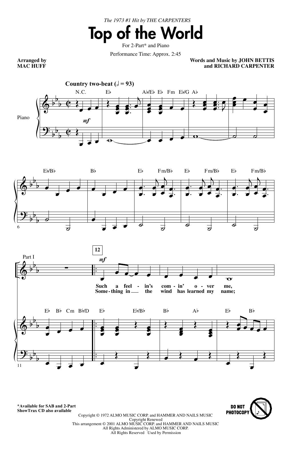 Top Of The World (arr. Mac Huff) (2-Part Choir)