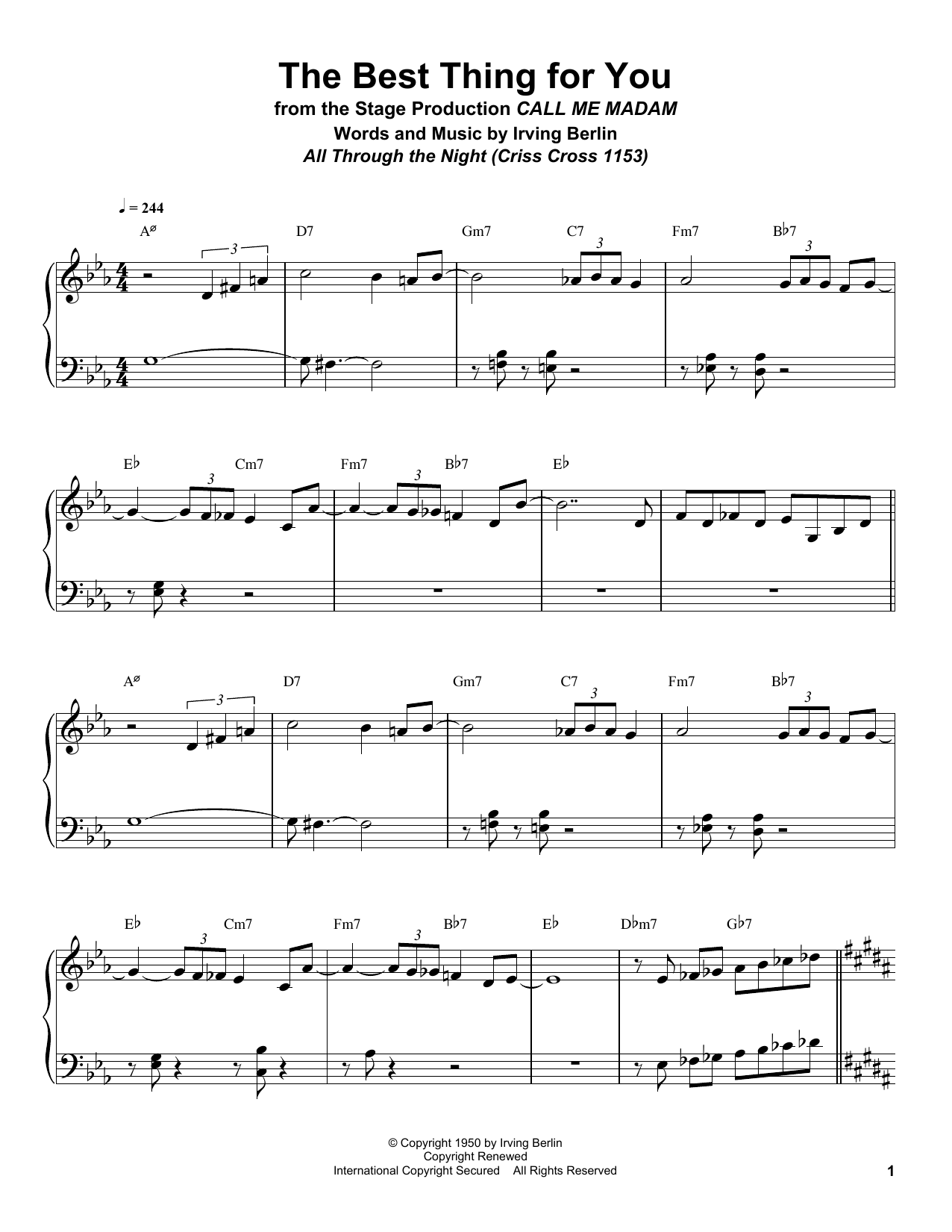 The Best Thing For You (Piano Transcription)