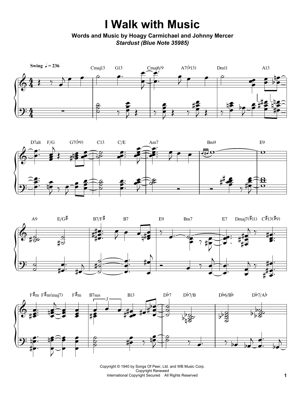I Walk With Music Sheet Music