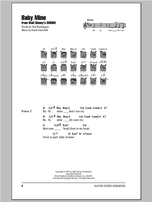 Baby Mine (from Walt Disney's Dumbo) (Guitar Chords/Lyrics)