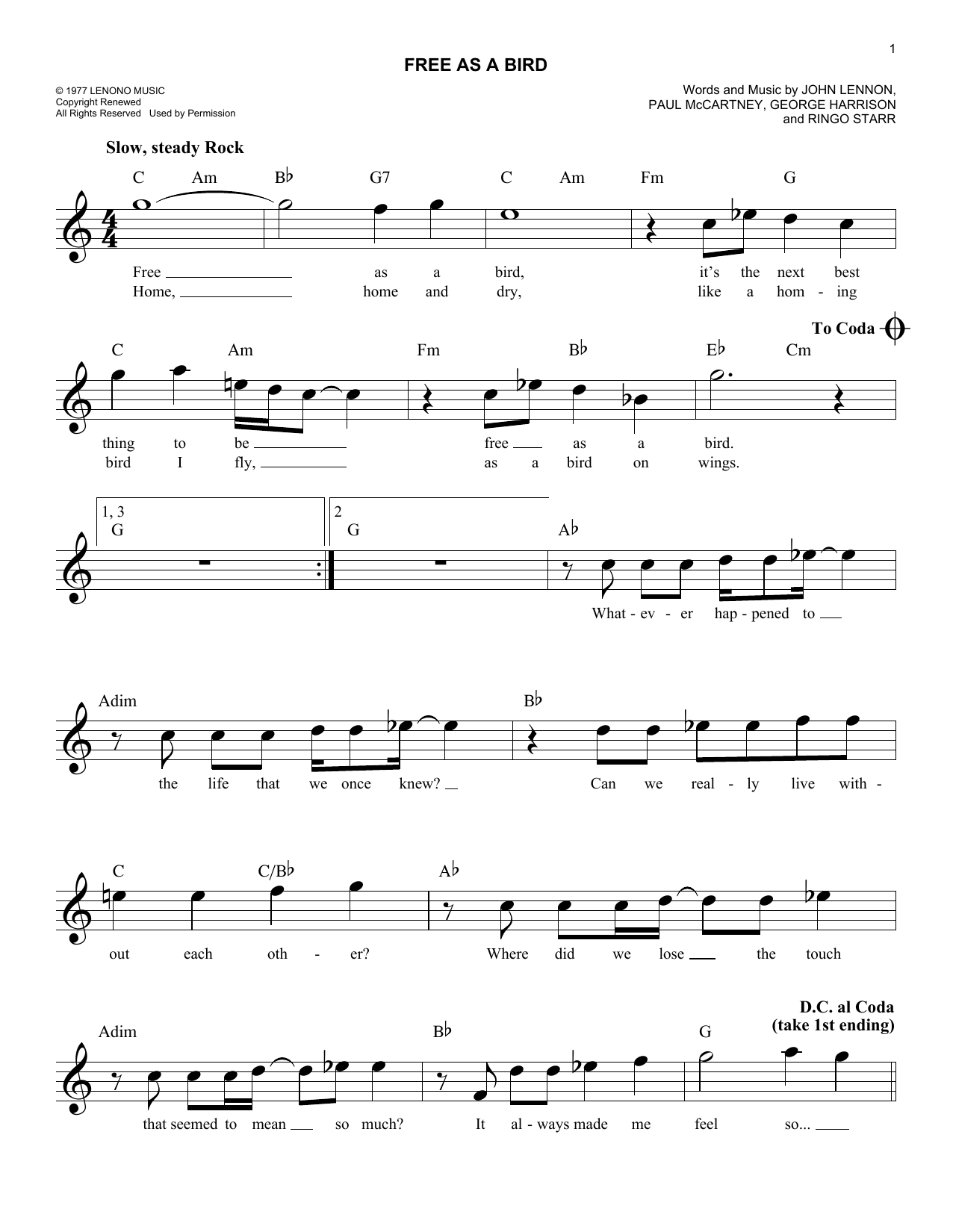 Free as a bird chords by the beatles melody line lyrics chords free as a bird sheet music hexwebz Images