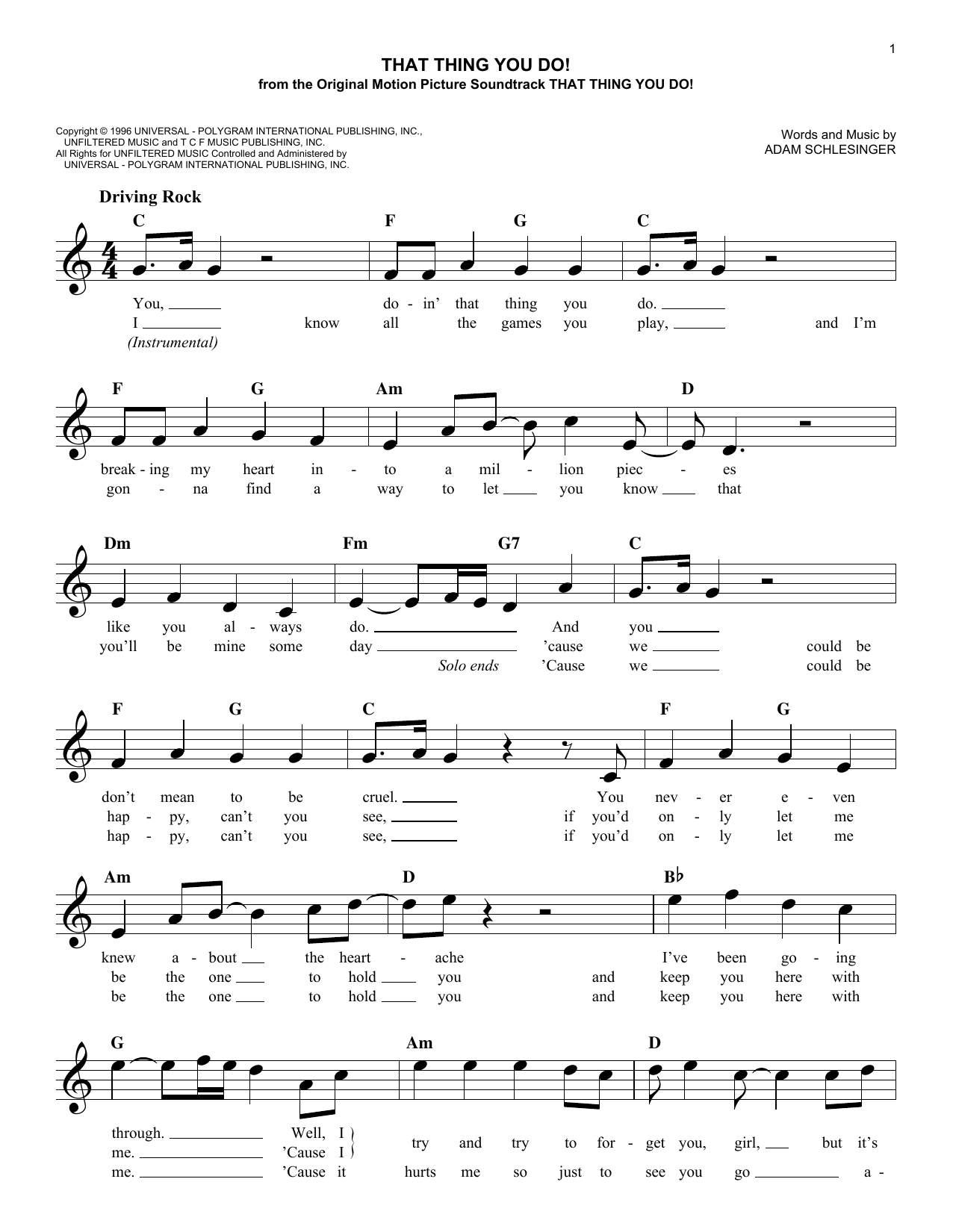 That Thing You Do! (Lead Sheet / Fake Book)