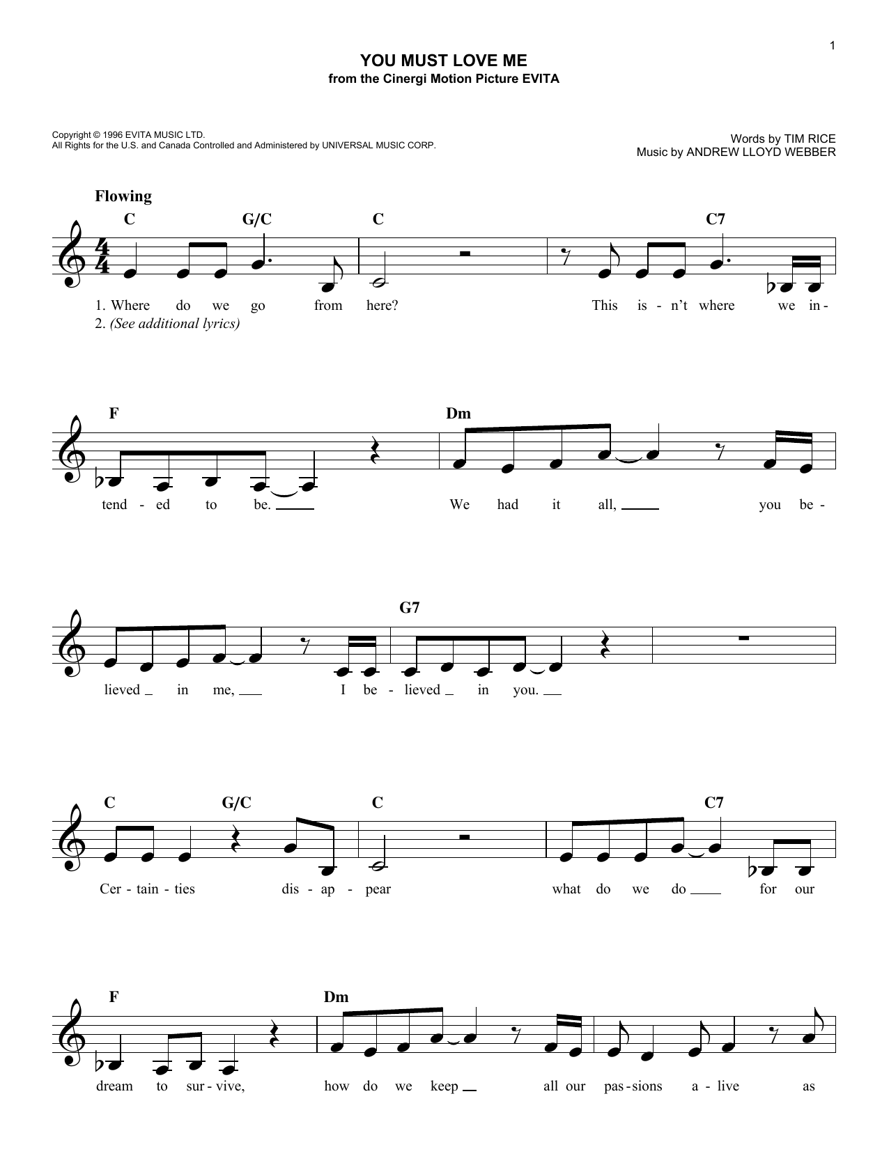 You Must Love Me (Lead Sheet / Fake Book)