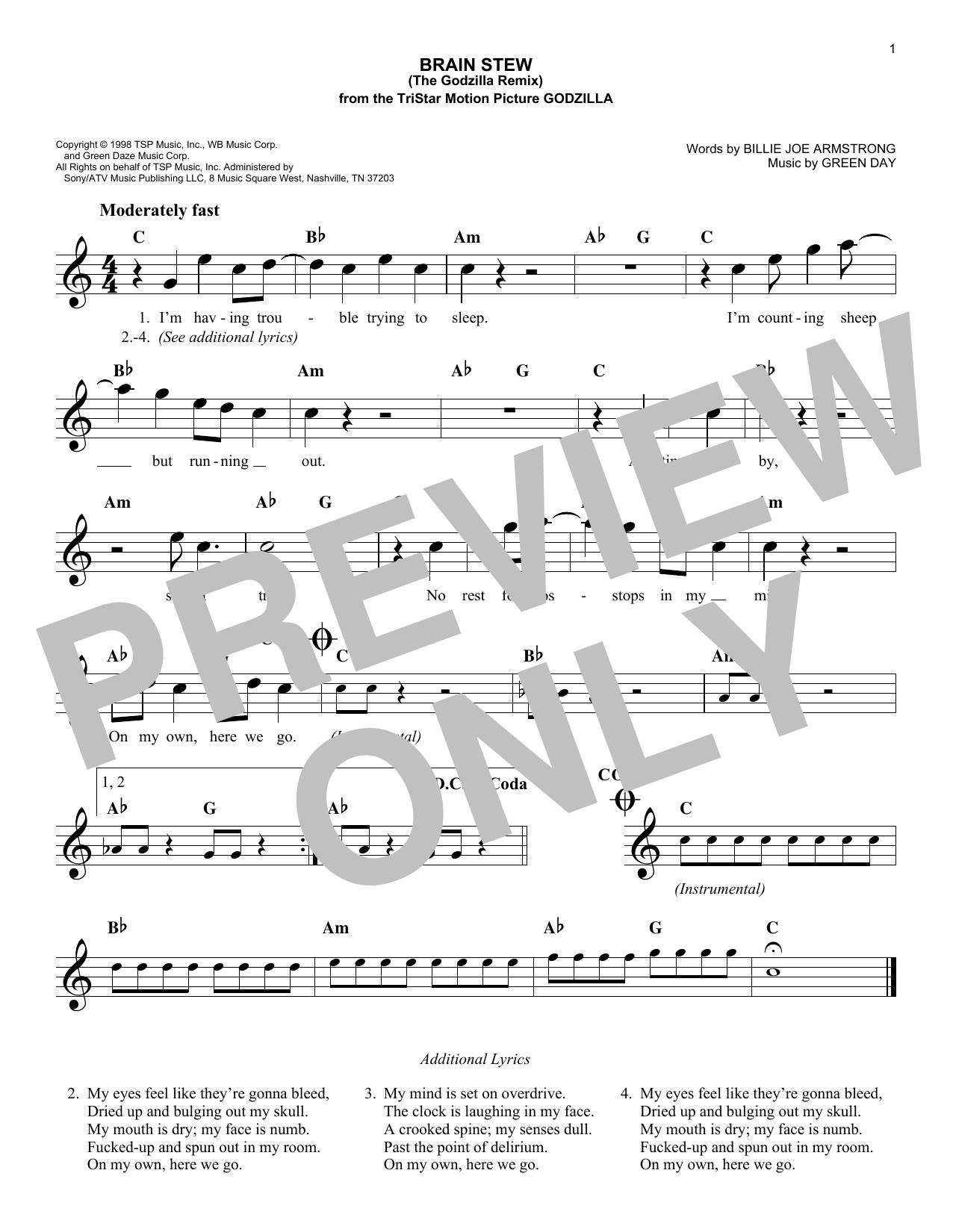 Brain Stew (The Godzilla Remix) Sheet Music