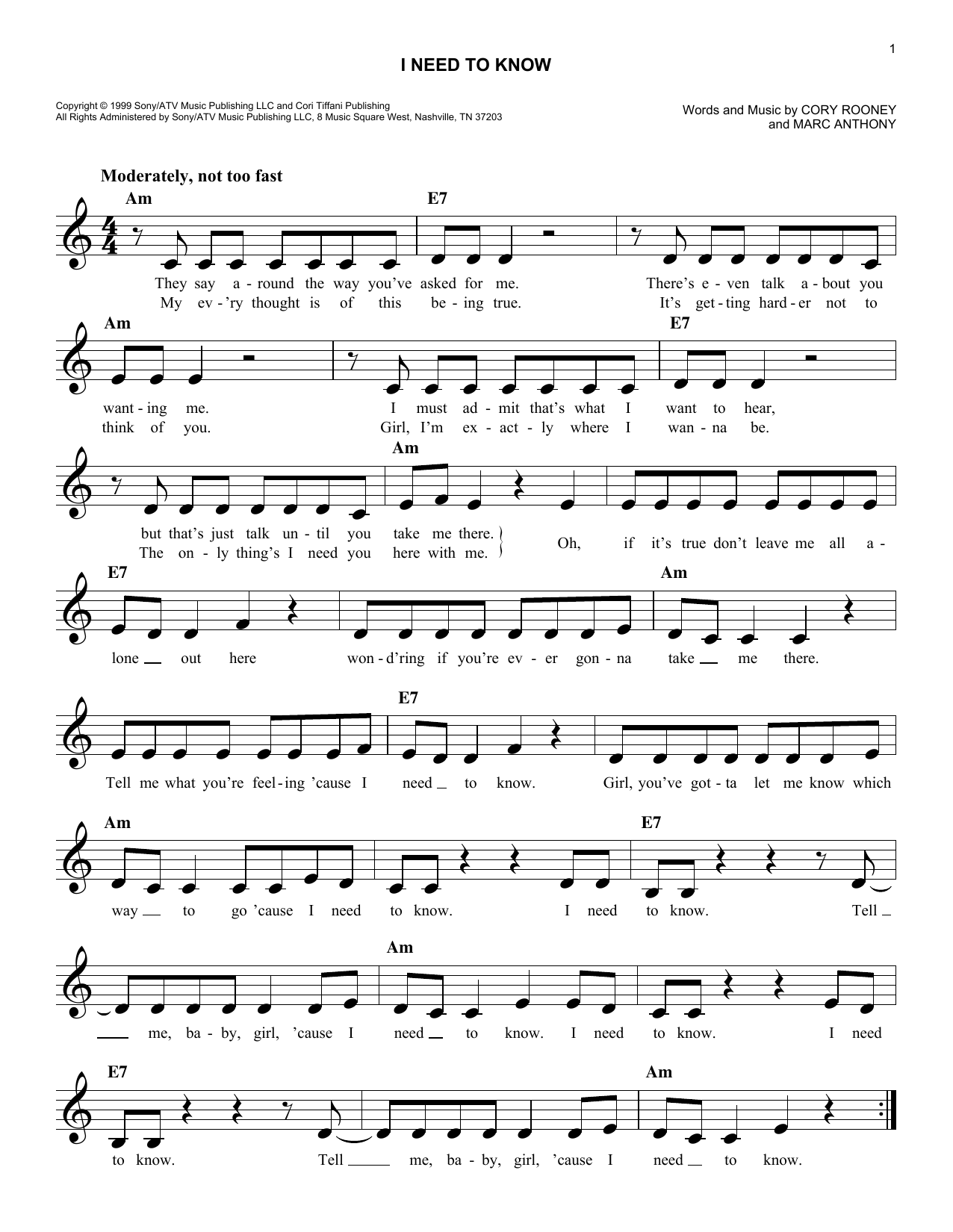 I Need To Know (Lead Sheet / Fake Book)