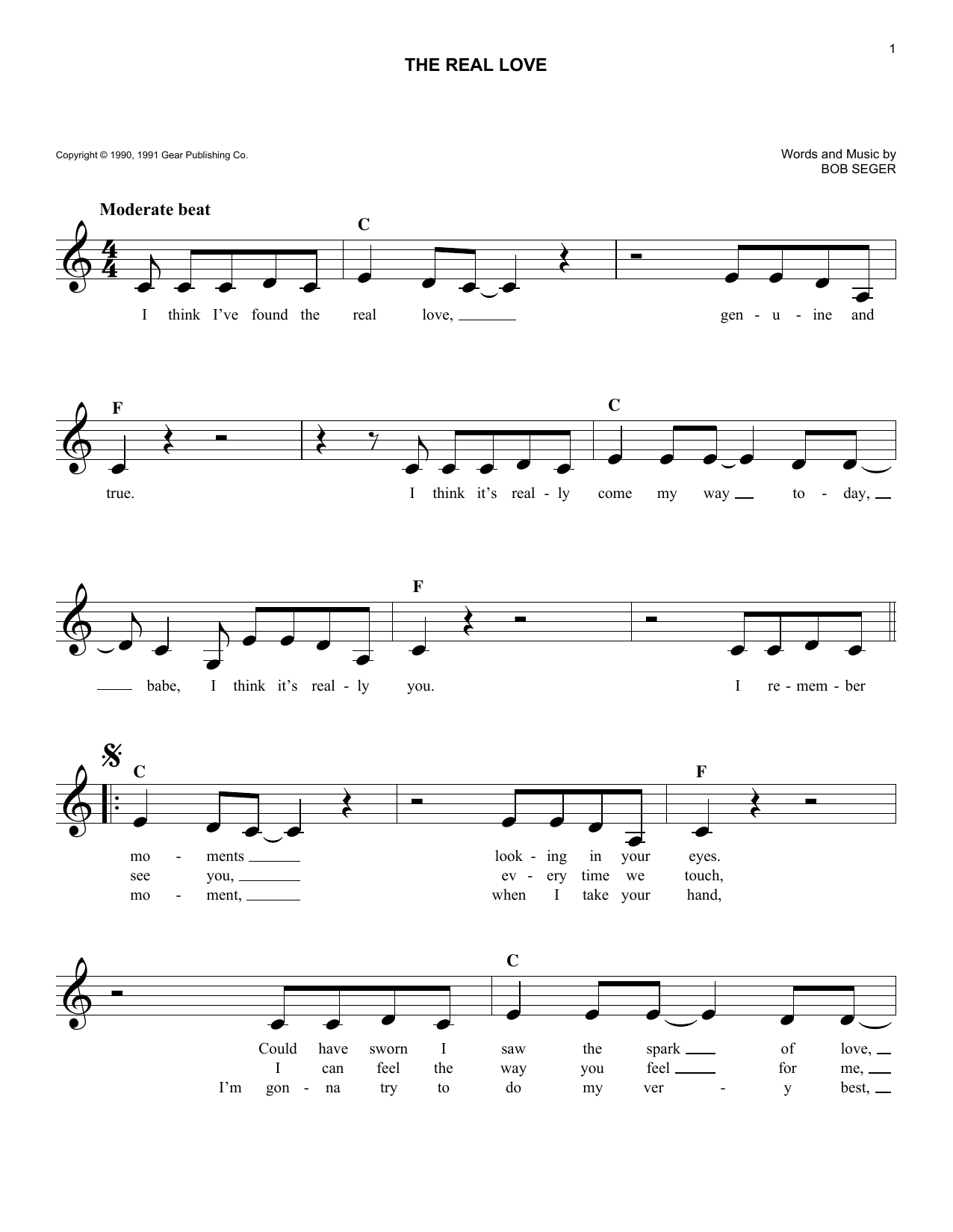 The Real Love (Lead Sheet / Fake Book)