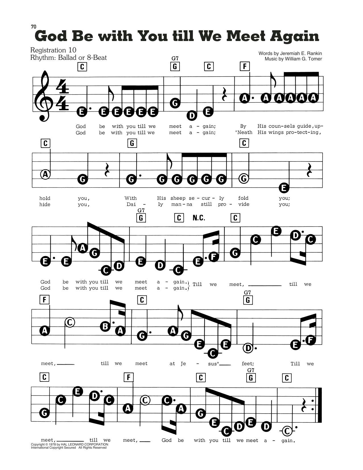 God Be With You Till We Meet Again Sheet Music