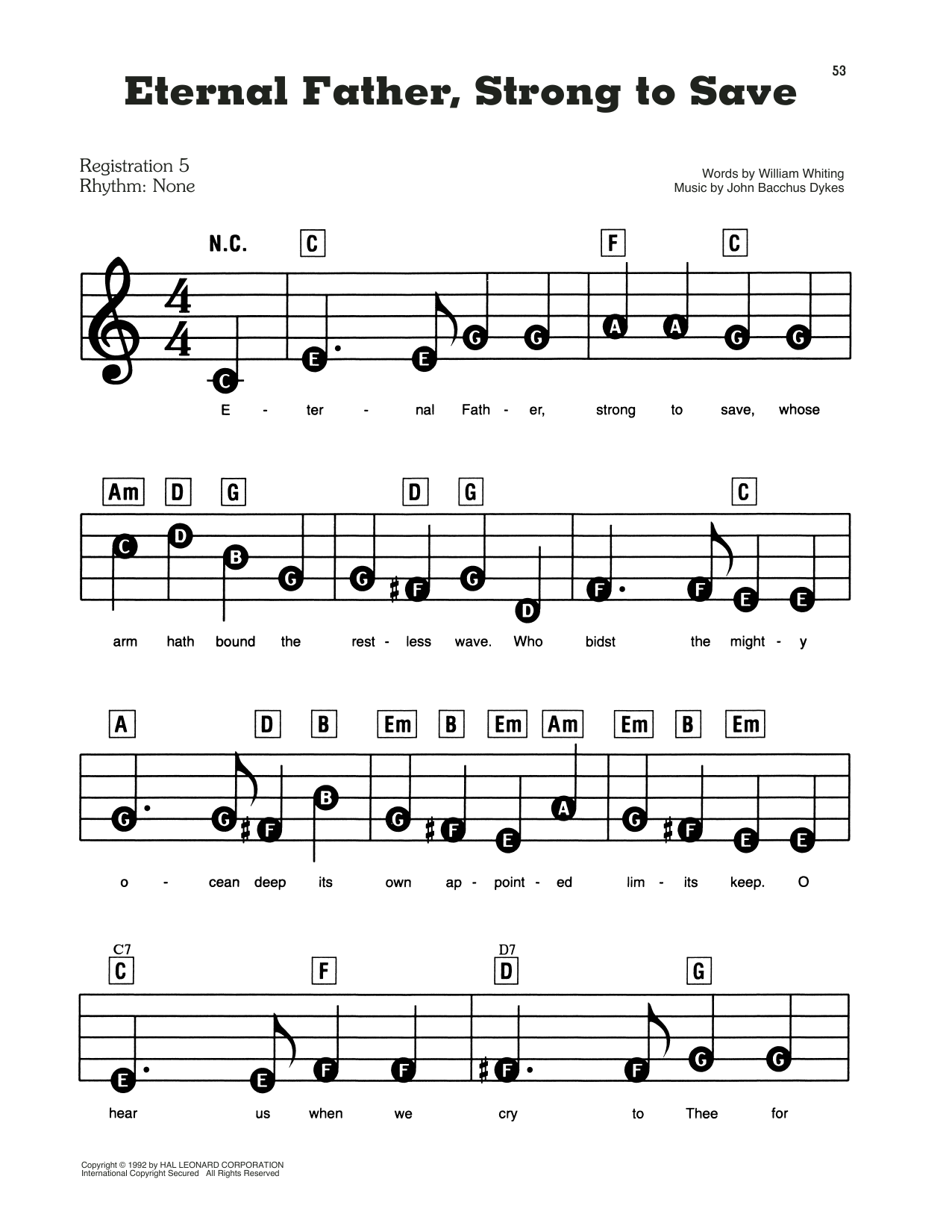 Eternal Father, Strong To Save Sheet Music