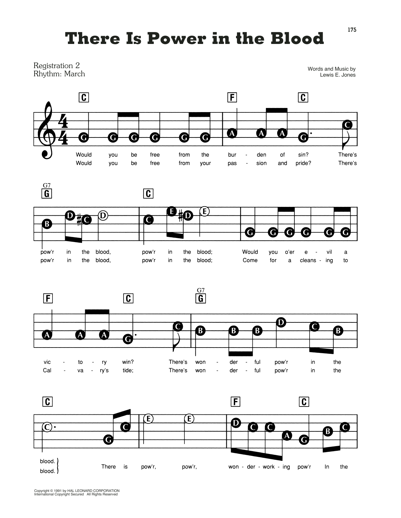 There Is Power In The Blood Sheet Music