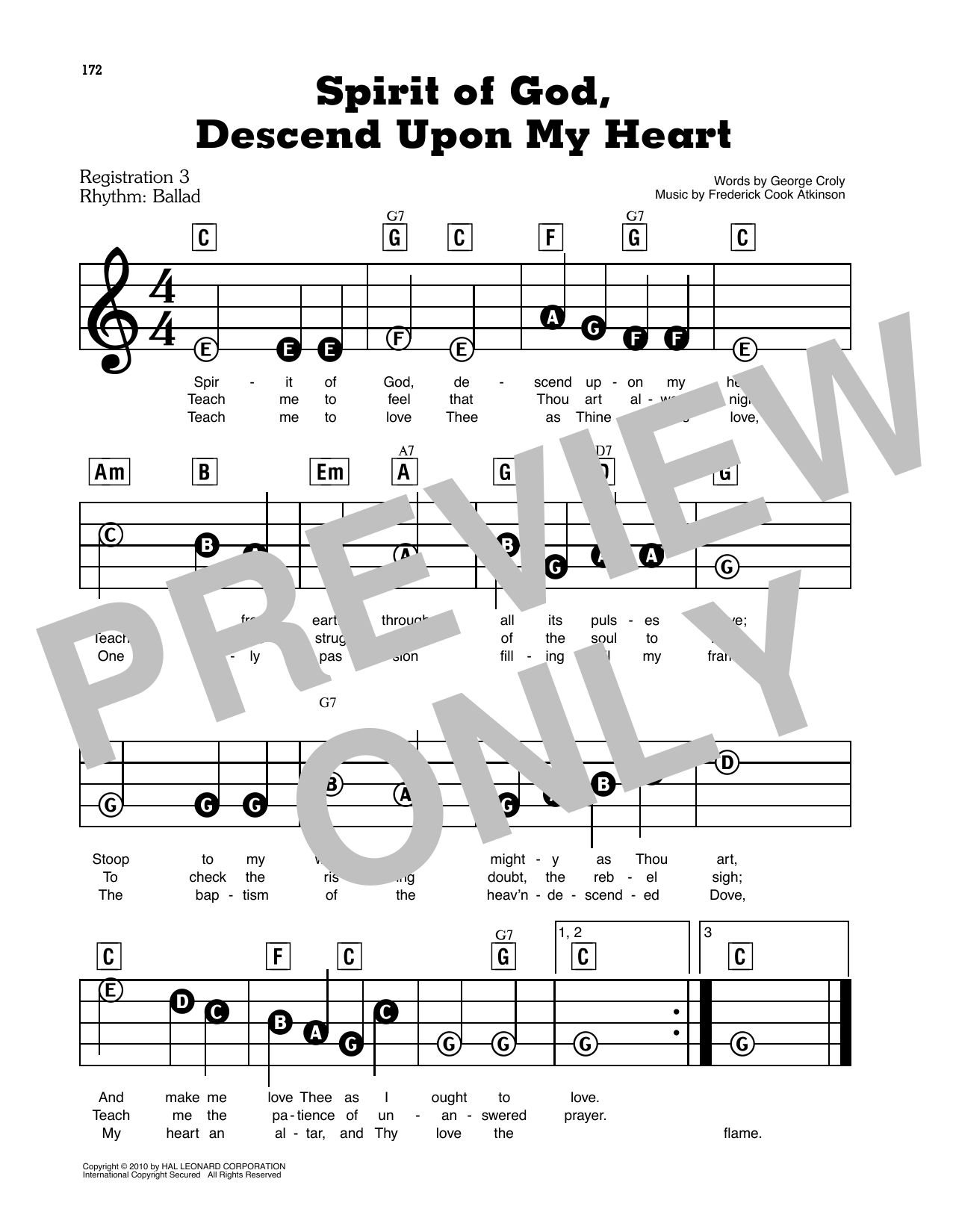 Spirit Of God, Descend Upon My Heart (E-Z Play Today)