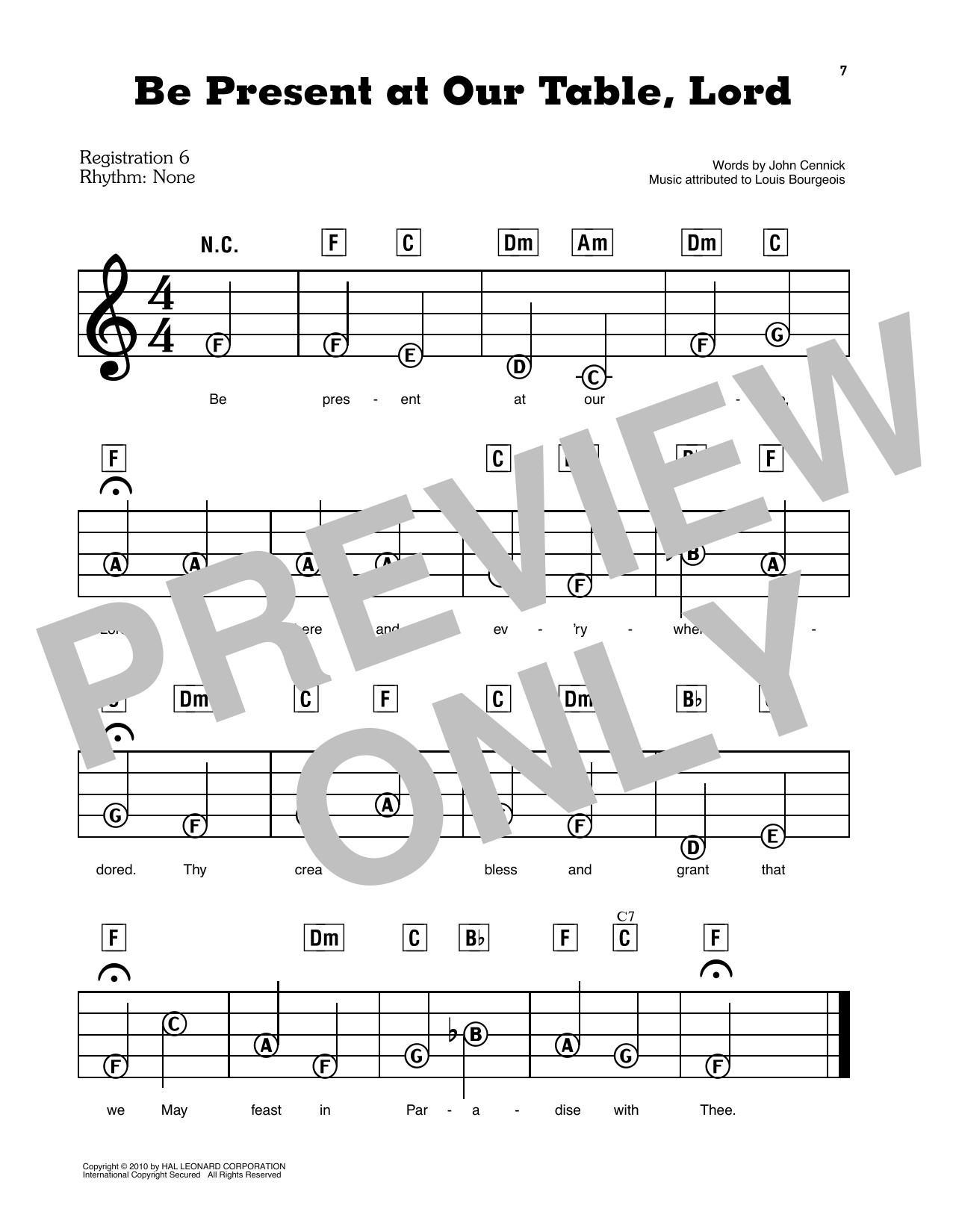 Be Present At Our Table, Lord Sheet Music
