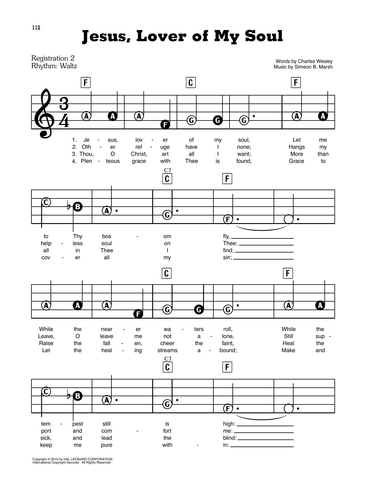 Jesus, Lover Of My Soul (E-Z Play Today)