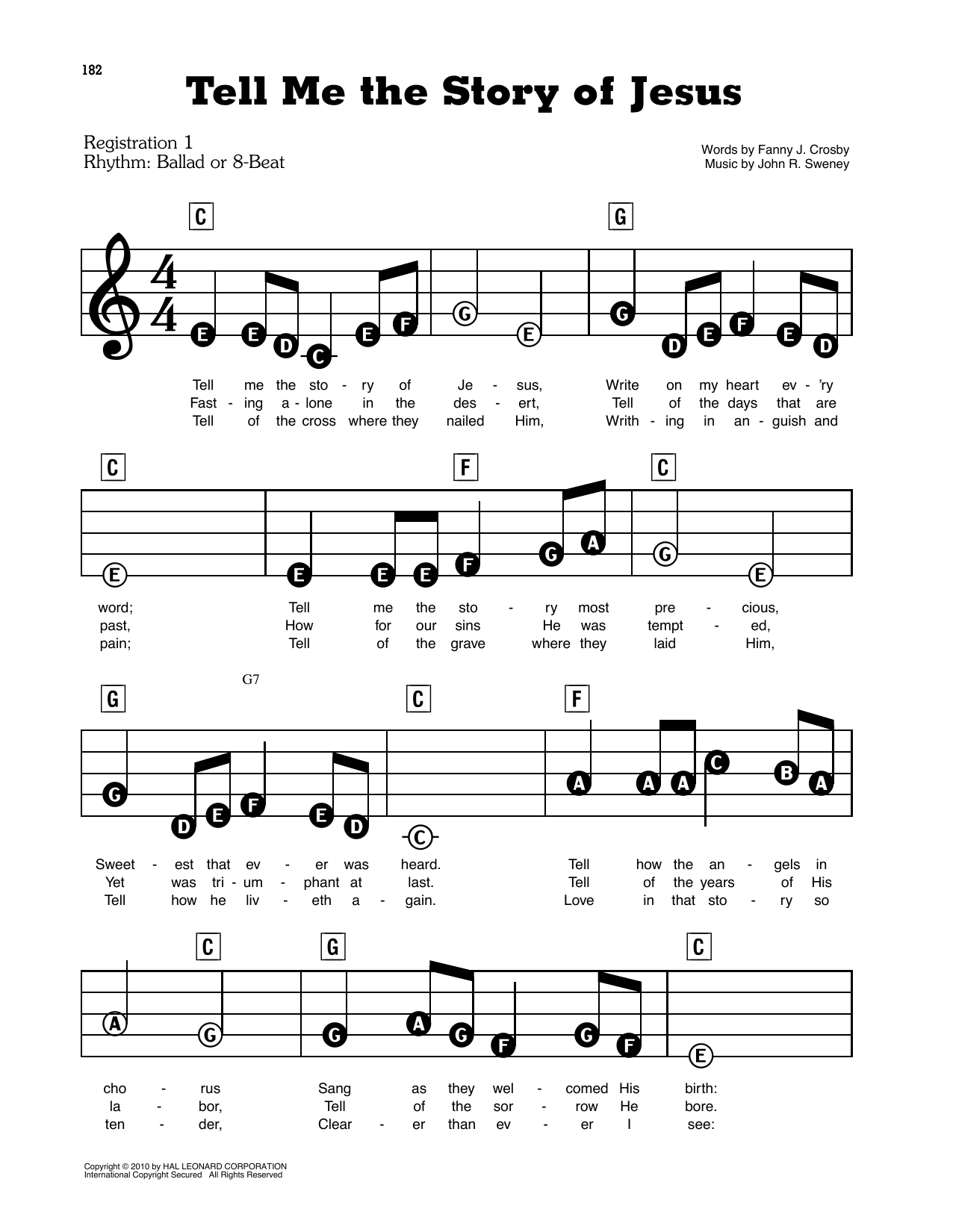 Tell Me The Story Of Jesus Sheet Music