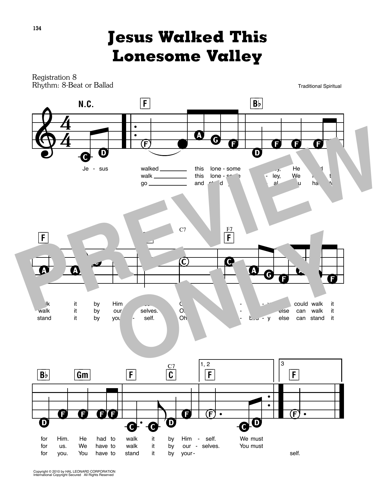 Jesus Walked This Lonesome Valley Sheet Music