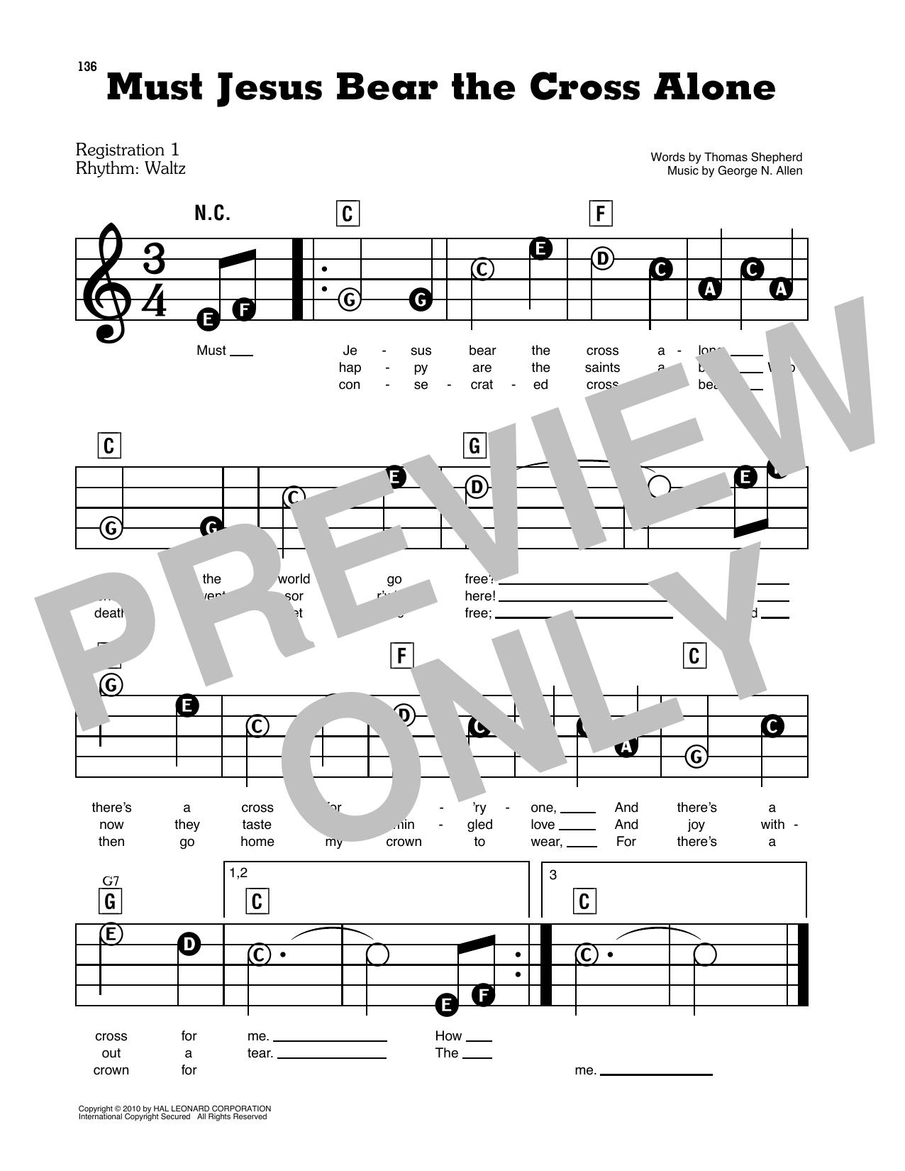 Must Jesus Bear The Cross Alone Sheet Music