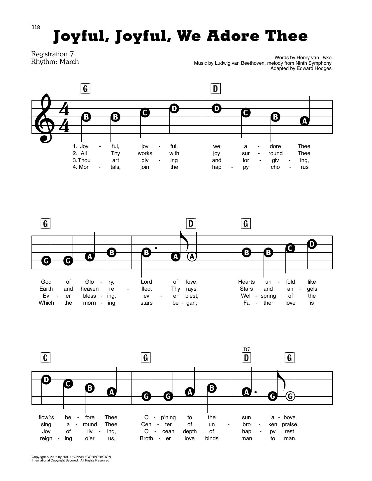 Joyful, Joyful, We Adore Thee (E-Z Play Today)