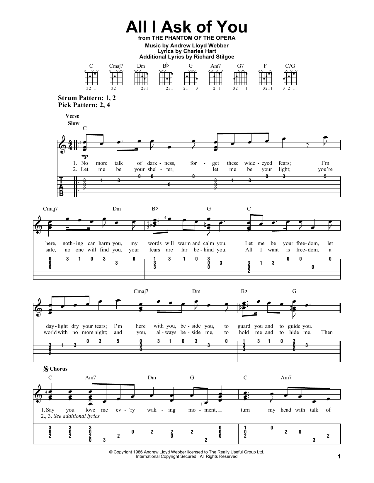 All I Ask Of You (from The Phantom Of The Opera) (Easy Guitar Tab)