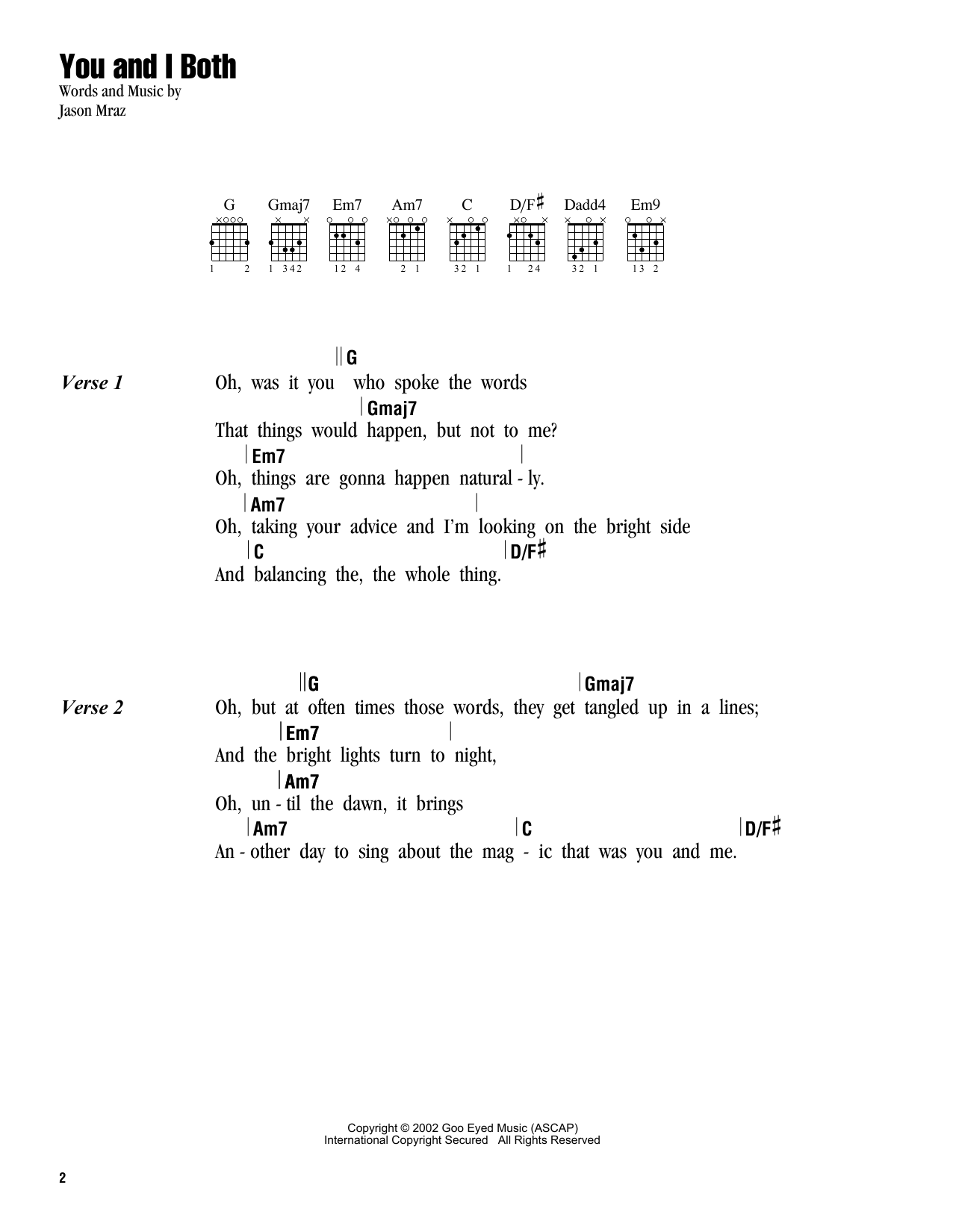 You and i both sheet music by jason mraz lyrics chords 162808 jason mraz you and i both lyrics chords hexwebz Images
