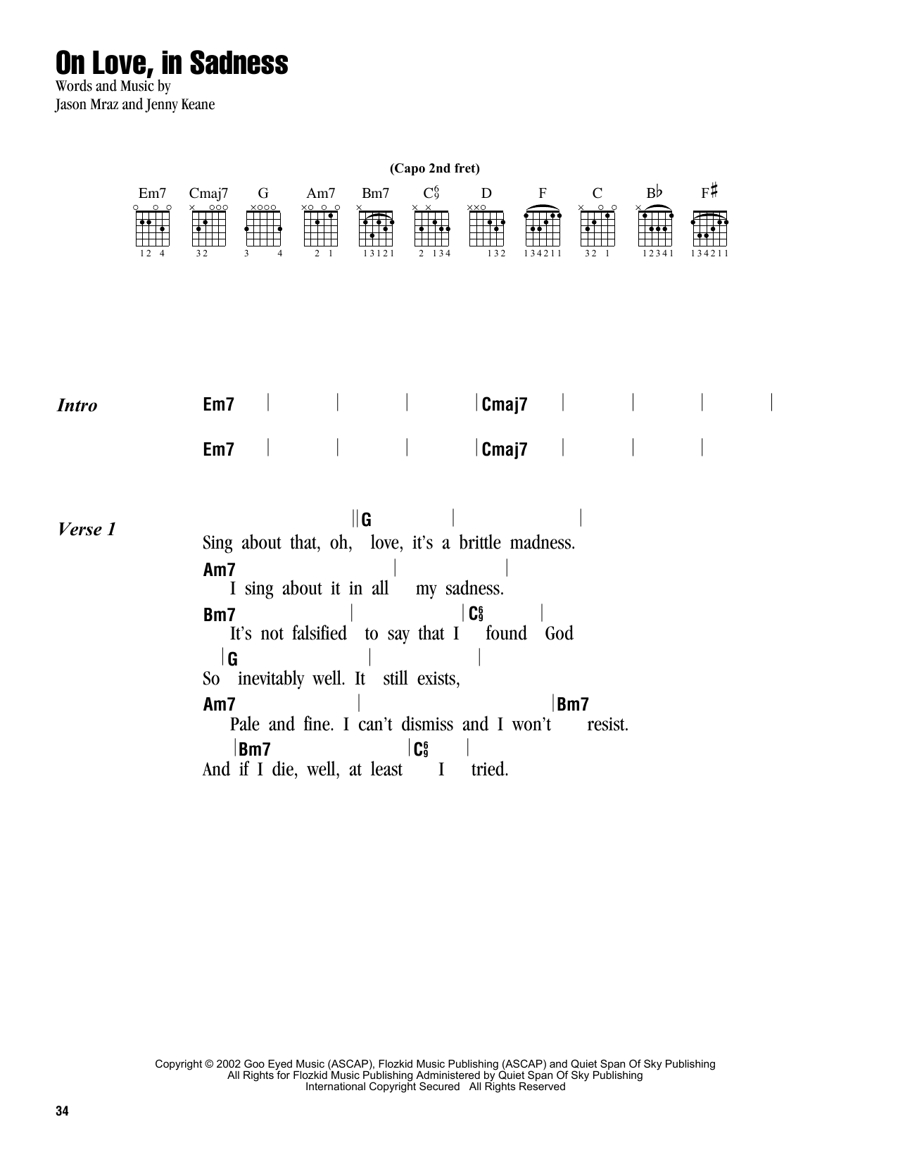 On Love, In Sadness Sheet Music