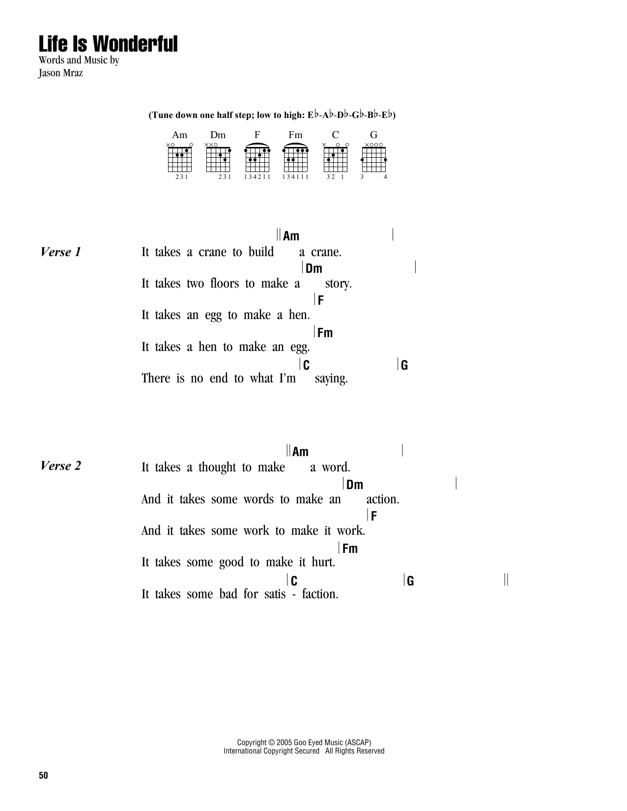 Life is wonderful sheet music by jason mraz lyrics chords 162831 jason mraz life is wonderful lyrics chords hexwebz Image collections
