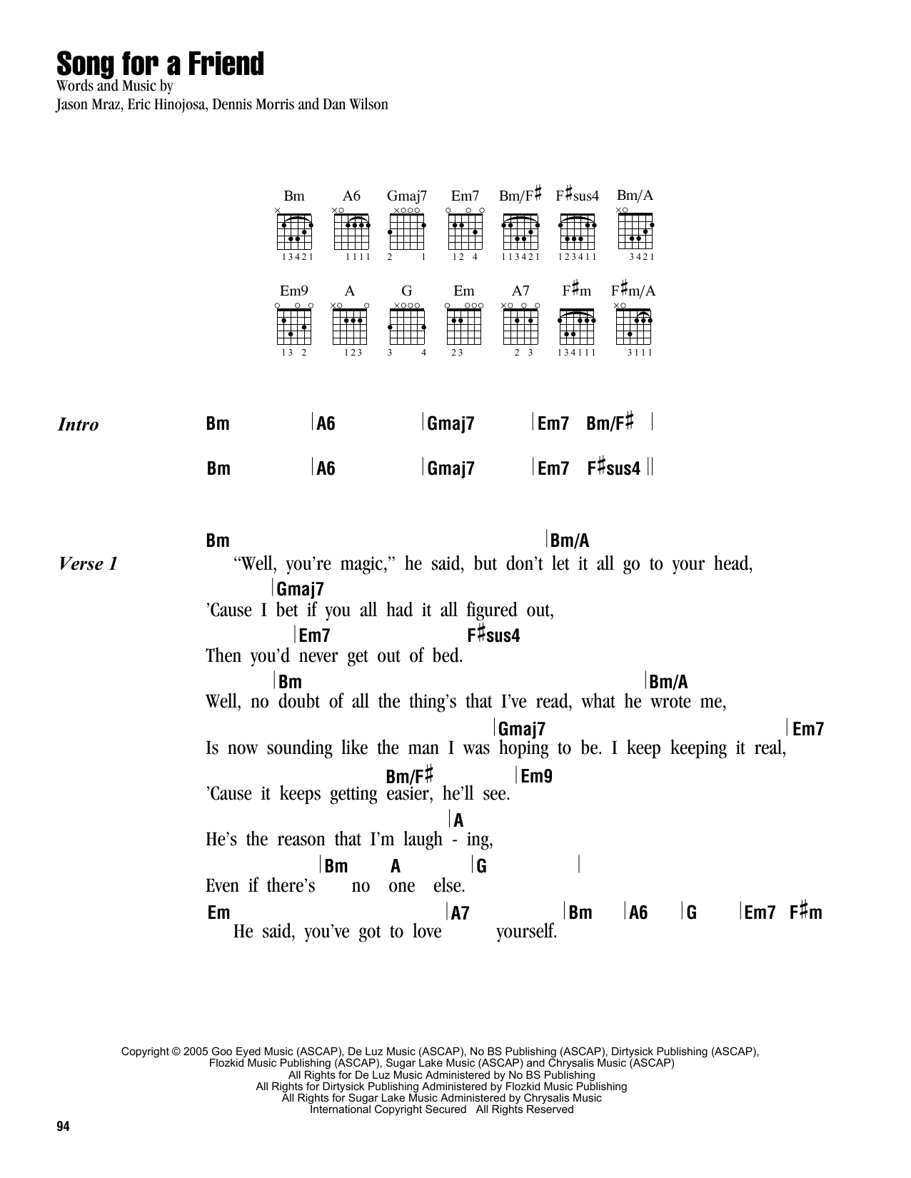 Song For A Friend Sheet Music