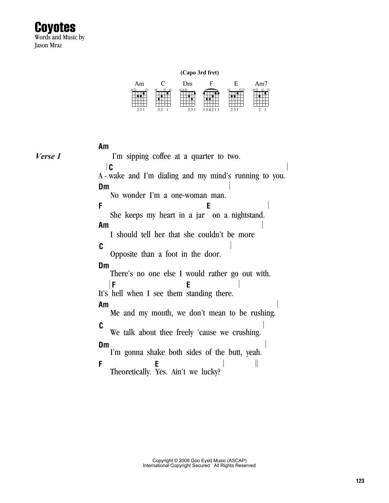 Coyotes (Guitar Chords/Lyrics)