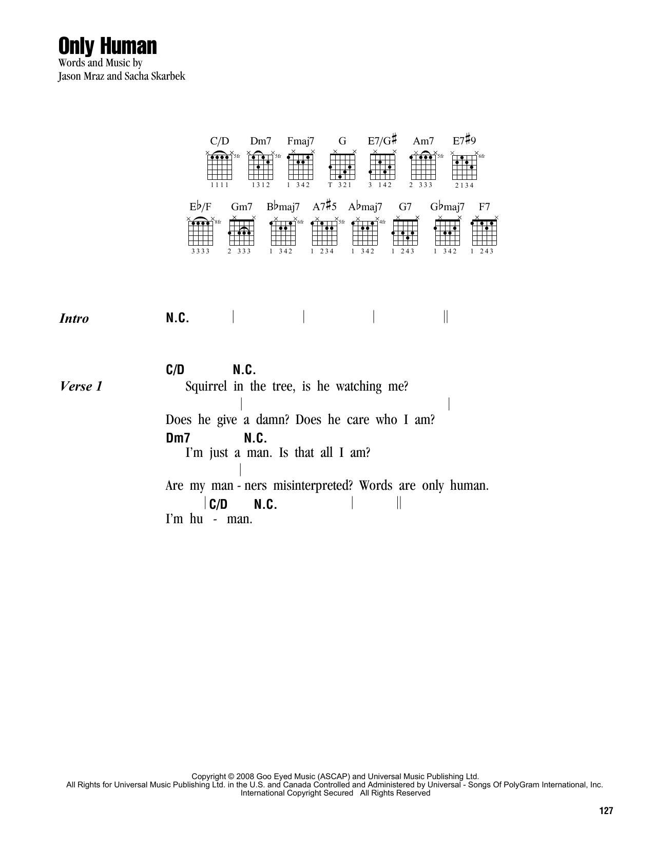 Only Human Sheet Music By Jason Mraz Lyrics Chords 162812