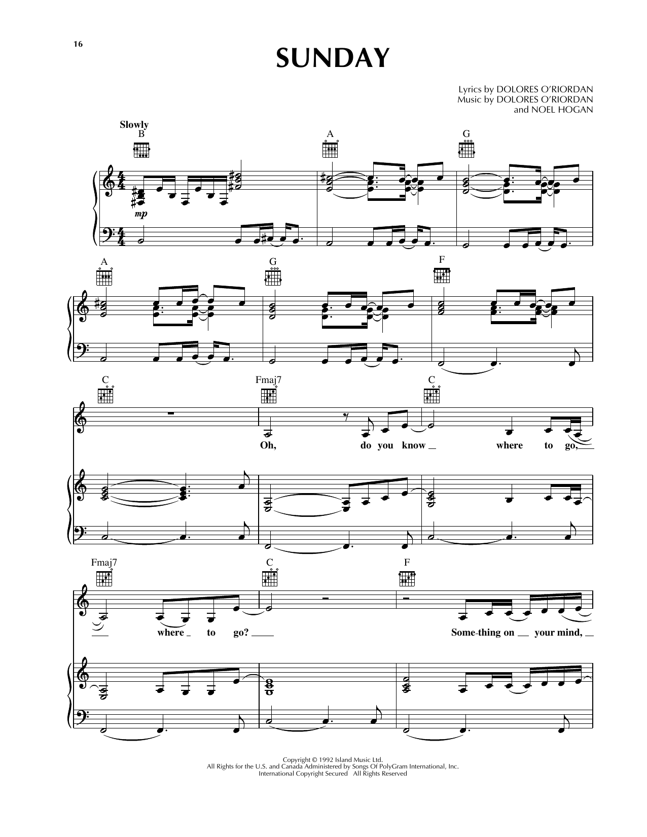Sunday Sheet Music