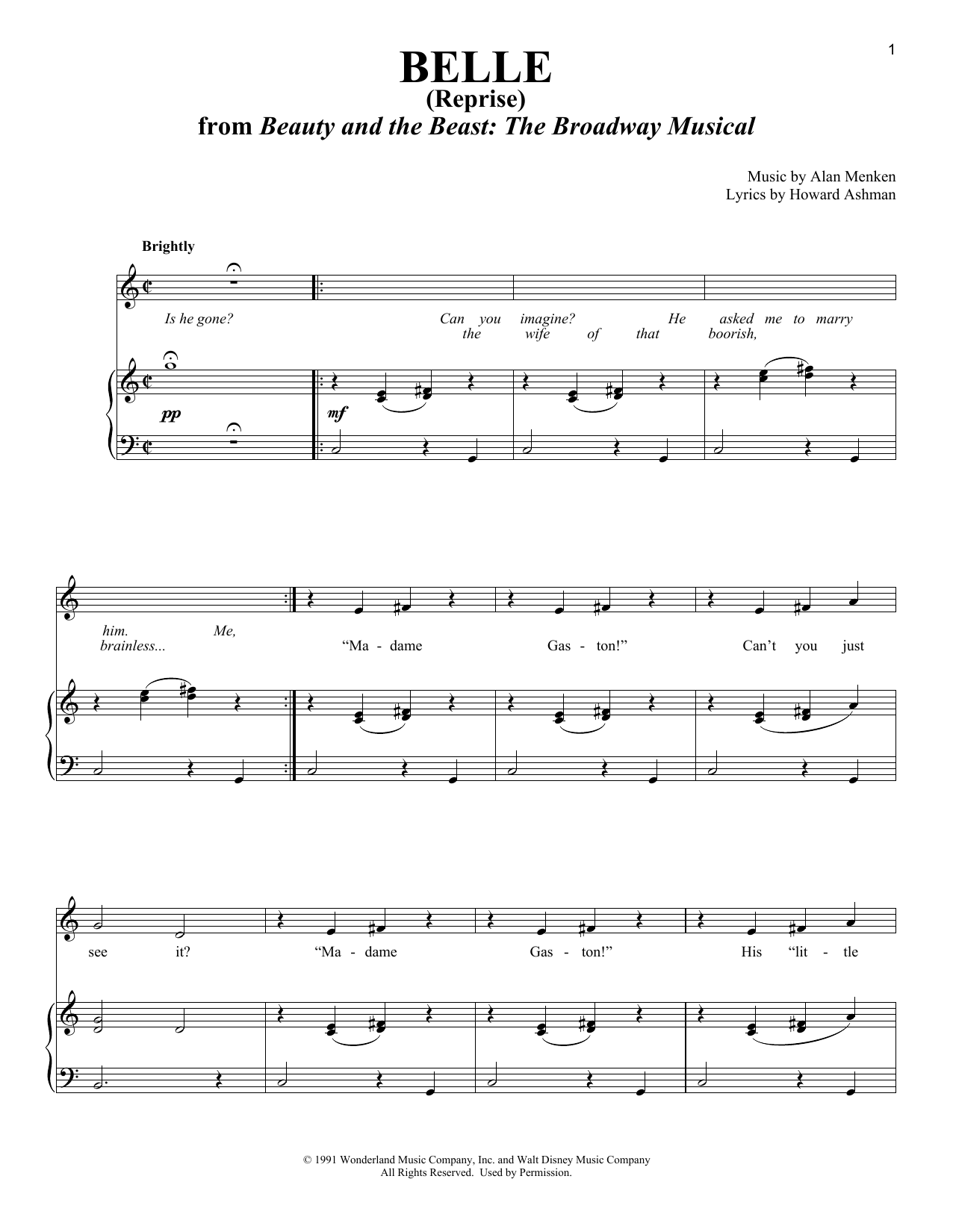 Belle (Reprise) Sheet Music