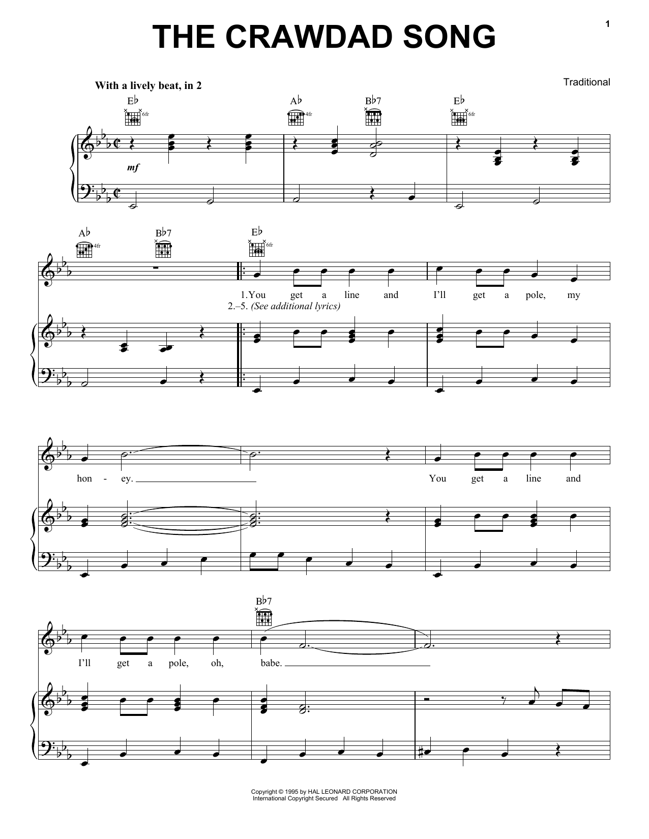 The Crawdad Song (Piano, Vocal & Guitar (Right-Hand Melody))