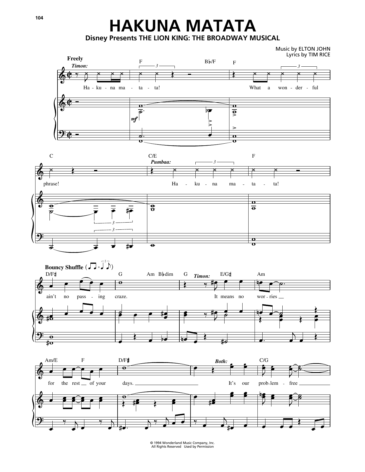 Hakuna Matata (from The Lion King: Broadway Musical) (Piano, Vocal & Guitar (Right-Hand Melody))